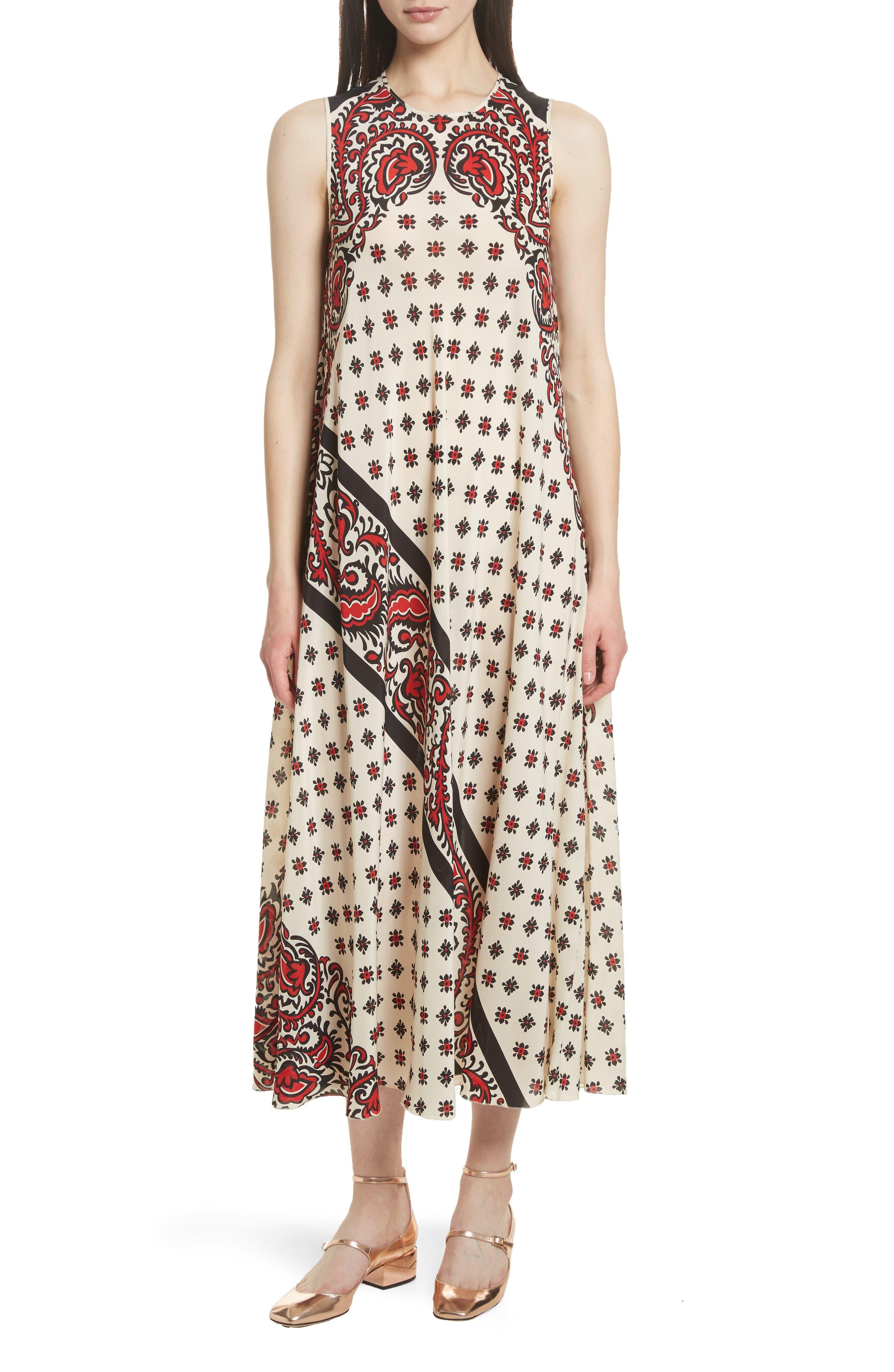 Print Silk Midi Dress,                             Main thumbnail 1, color,                             Cherry