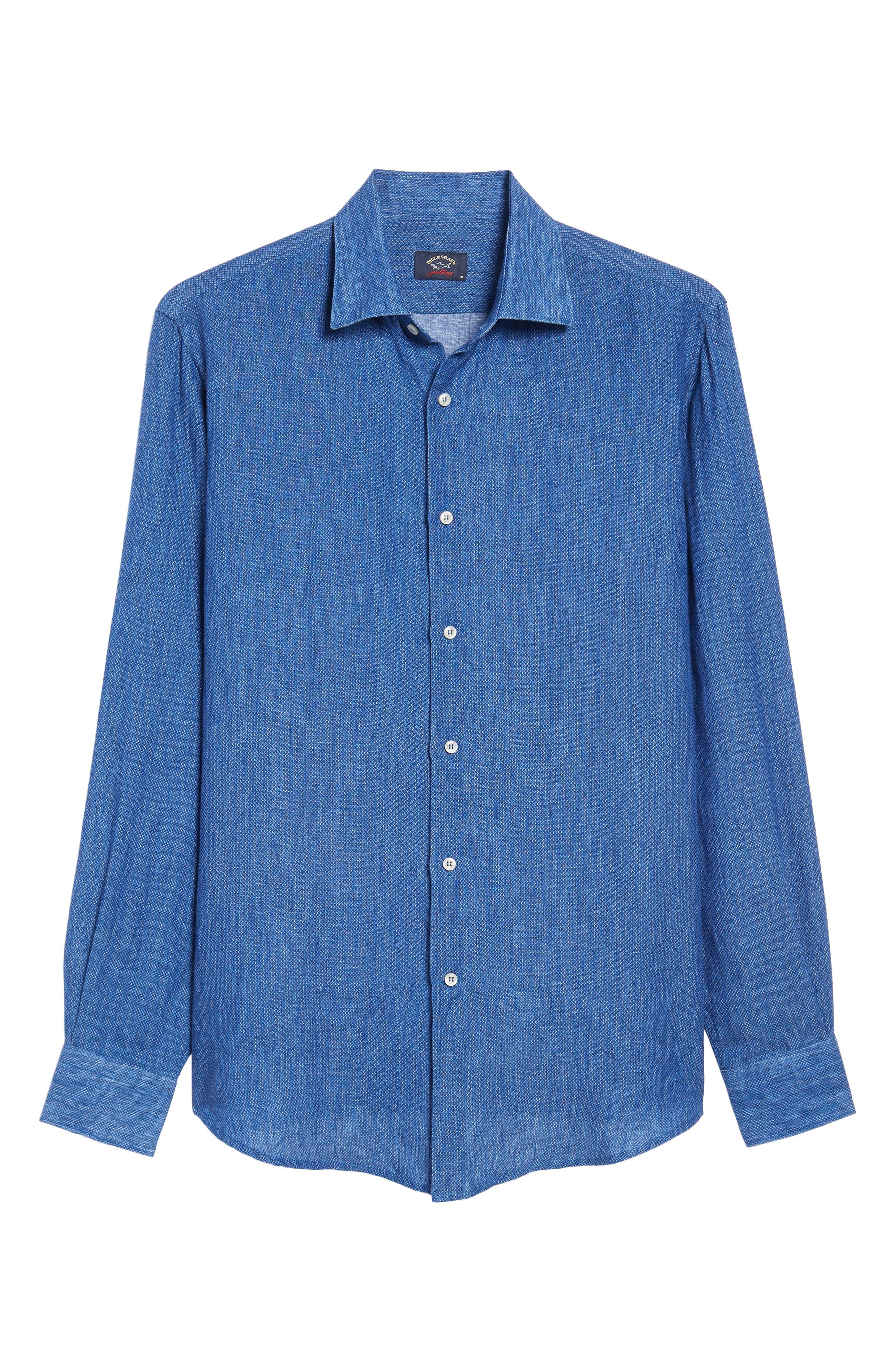 Paul&Shark Regular Fit Piqué Sport Shirt,                             Alternate thumbnail 6, color,                             Blue