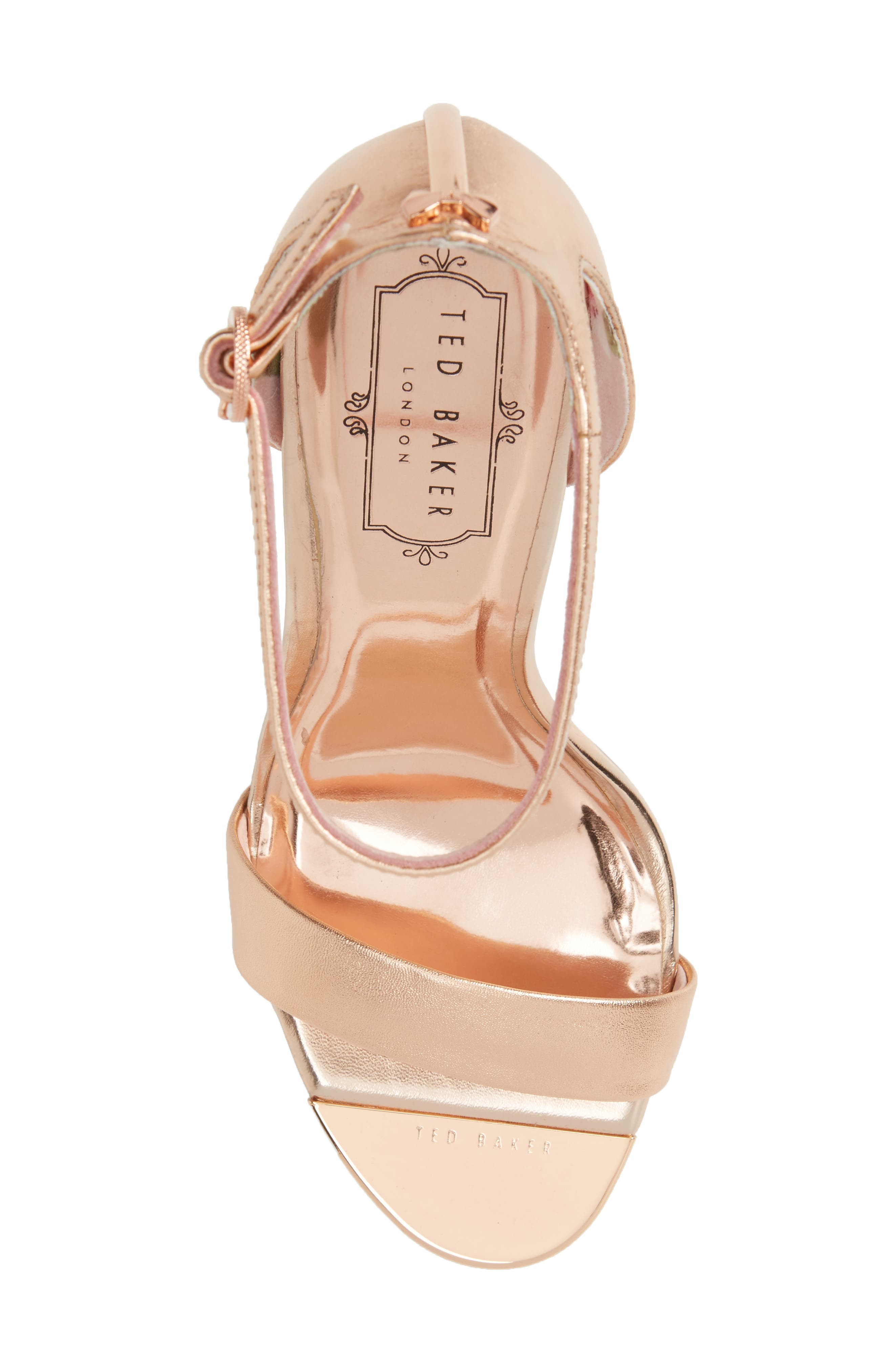 Sharlot Ankle Strap Sandal,                             Alternate thumbnail 5, color,                             Rose Gold Leather