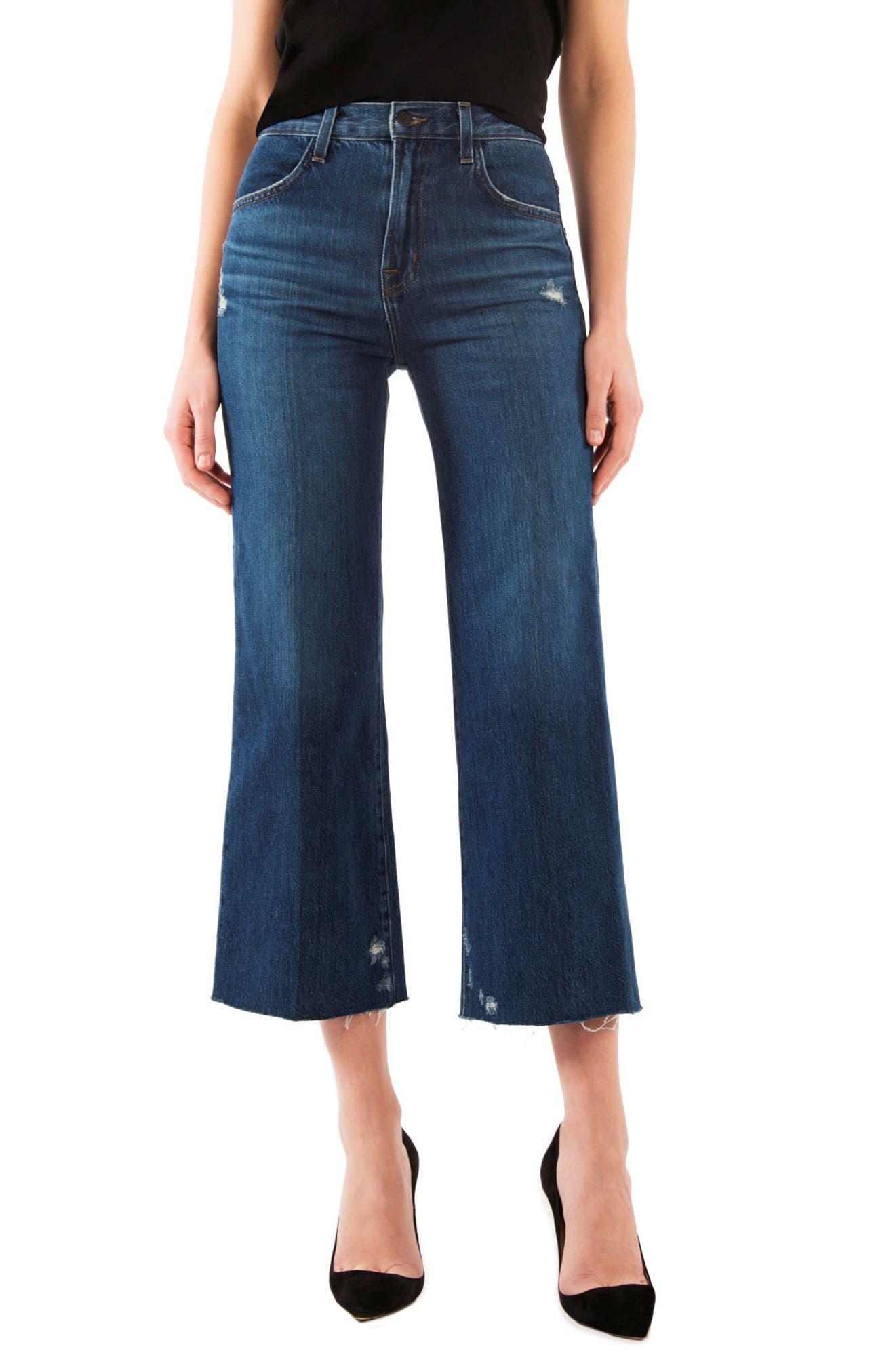 Main Image - J Brand Joan High Waist Crop Wide Leg Jeans (Doubletake)