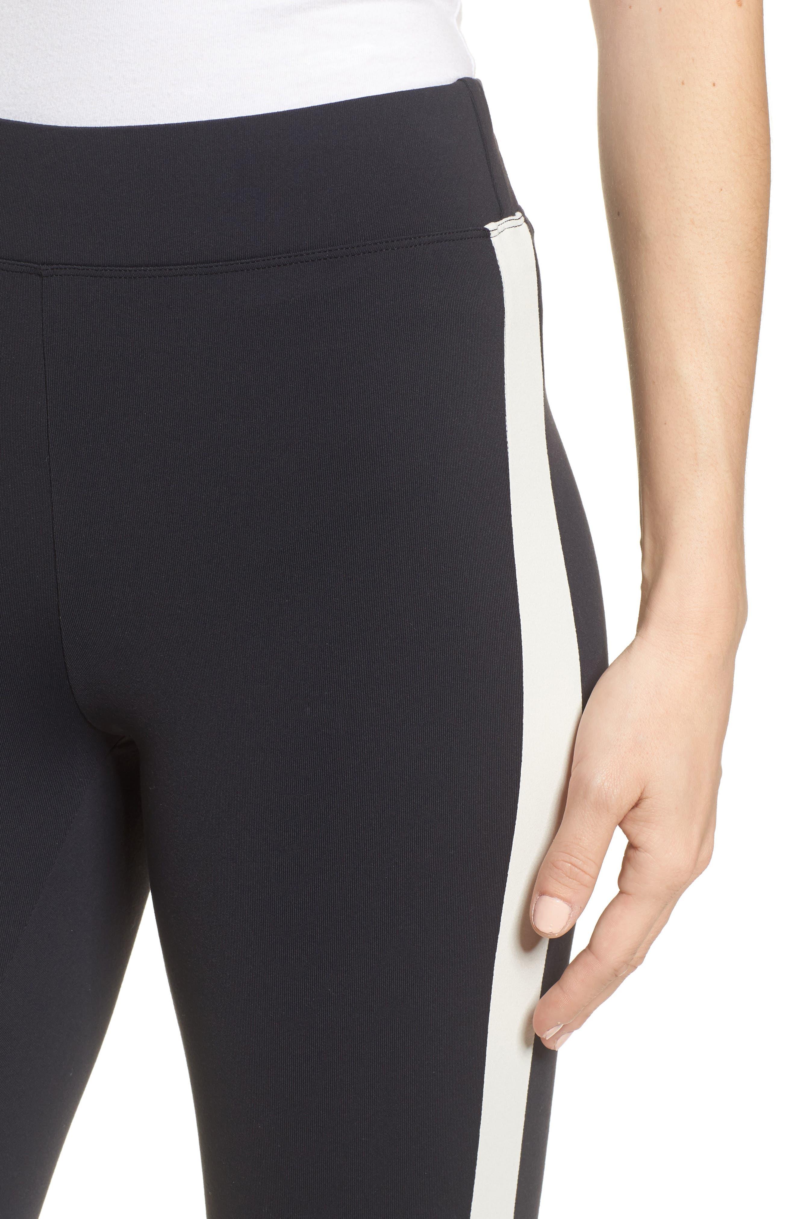 Stripe High Waist Ankle Leggings,                             Alternate thumbnail 4, color,                             Black