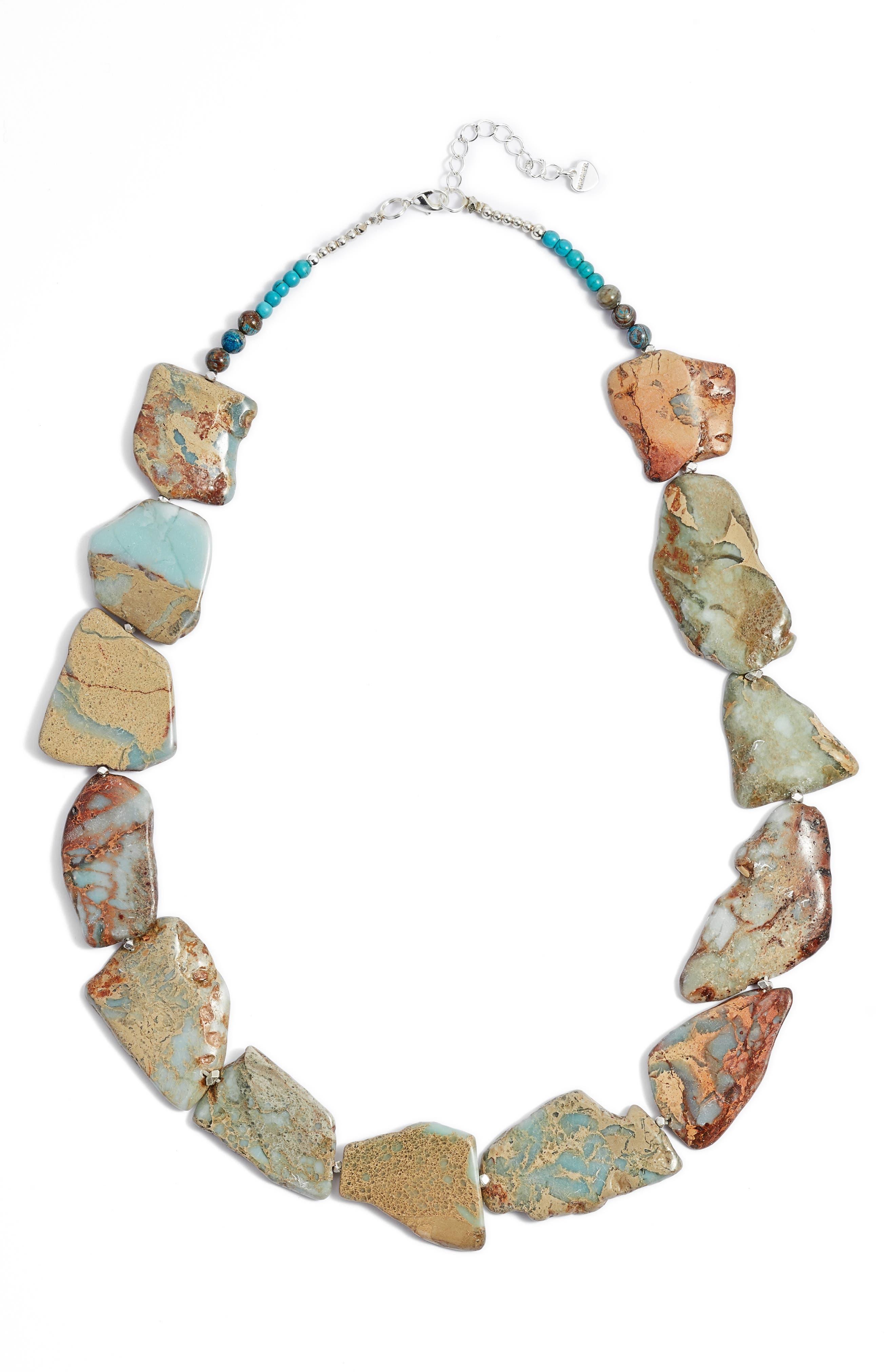 Nakamol Design Chunky Amazonite & Agate Short Necklace
