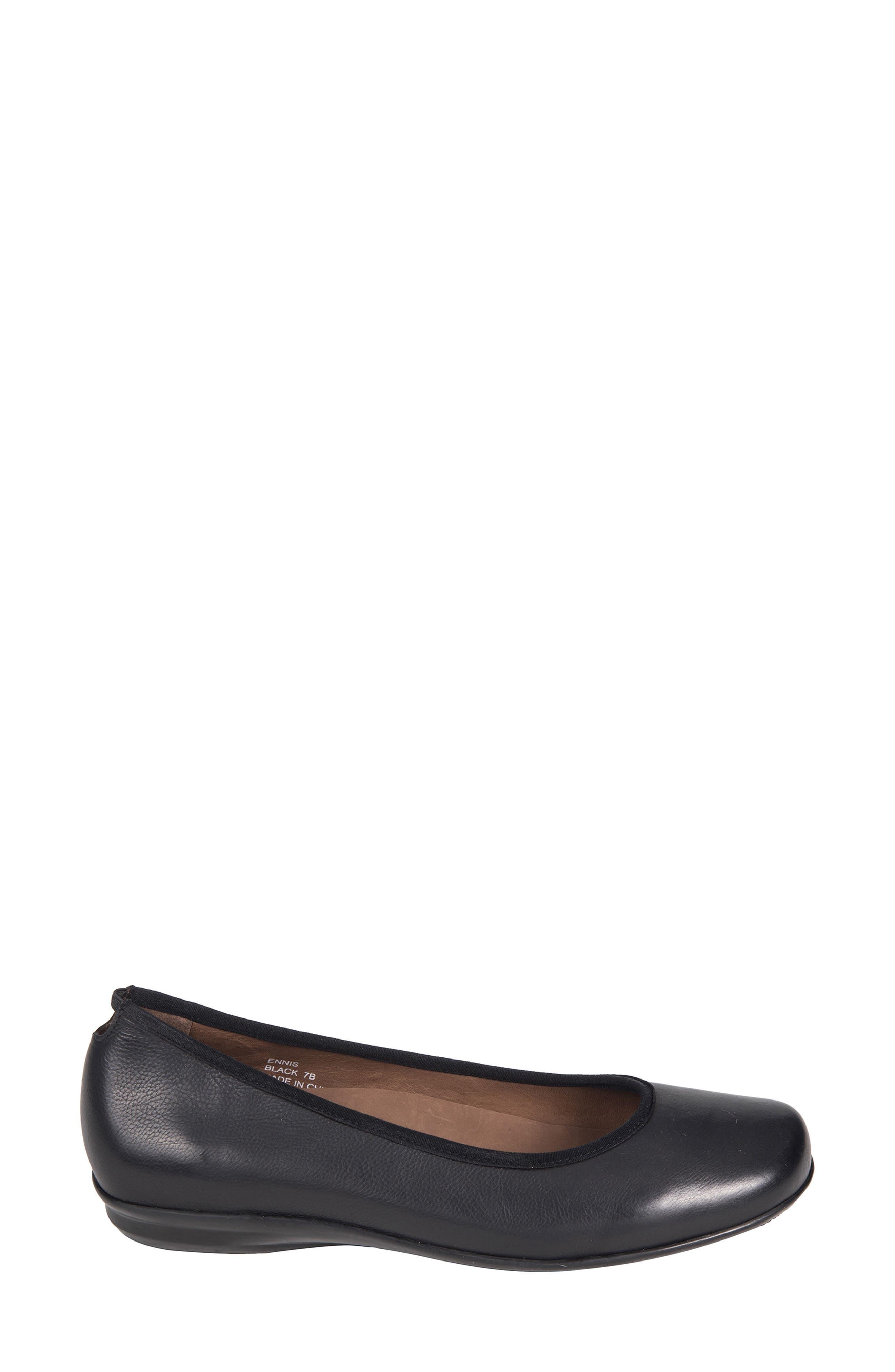 Ennis Flat,                             Alternate thumbnail 3, color,                             Black Leather