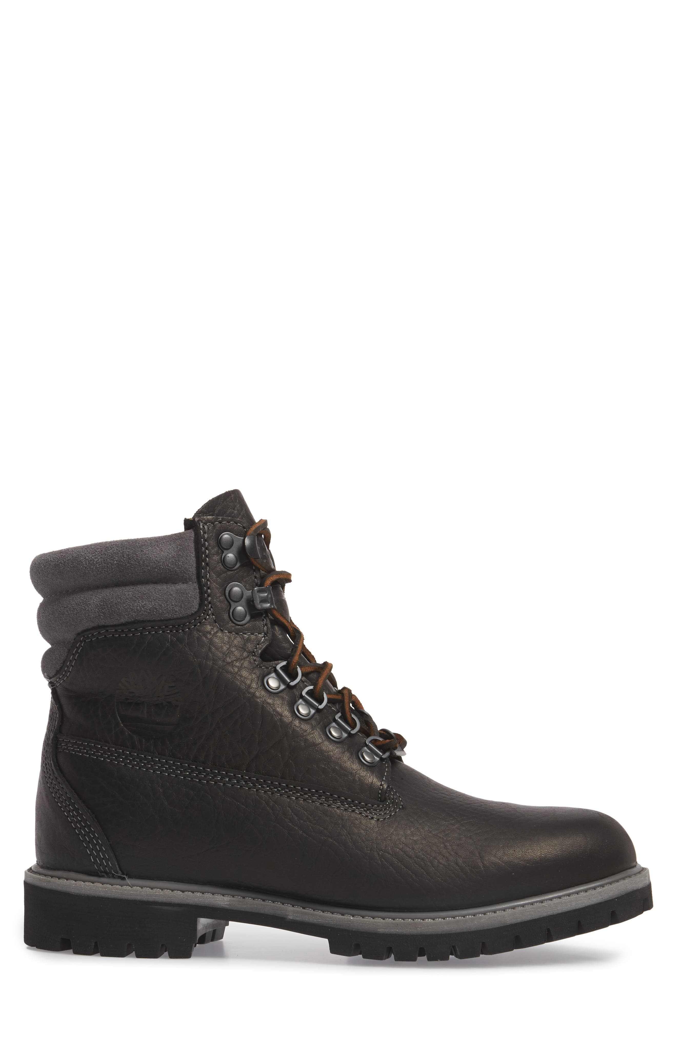 640 Below Plain Toe Boot,                             Alternate thumbnail 3, color,                             Black Highway Leather