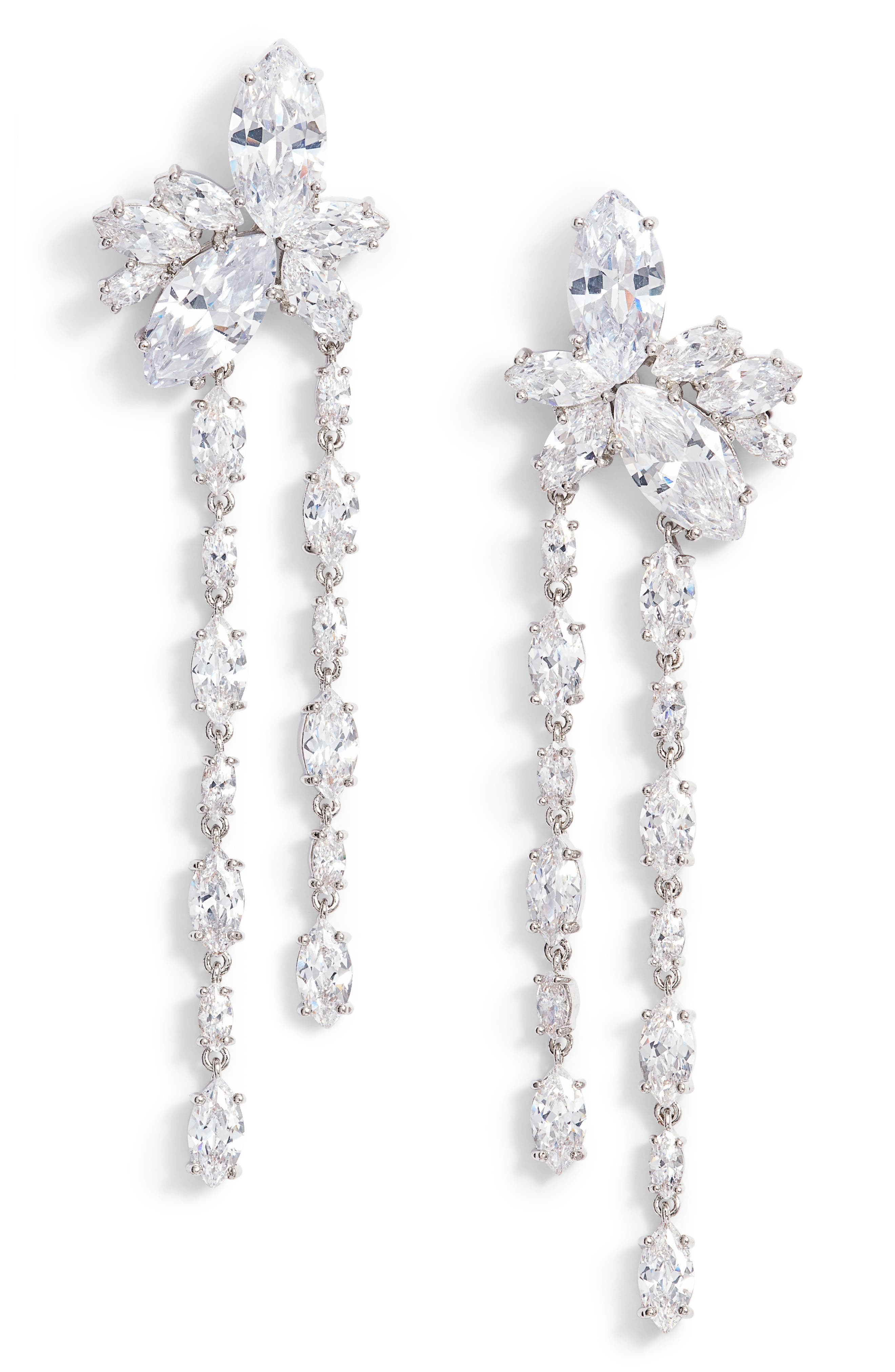 Floral Stone Cluster Drop Earrings,                             Main thumbnail 1, color,                             Silver/ White Cz