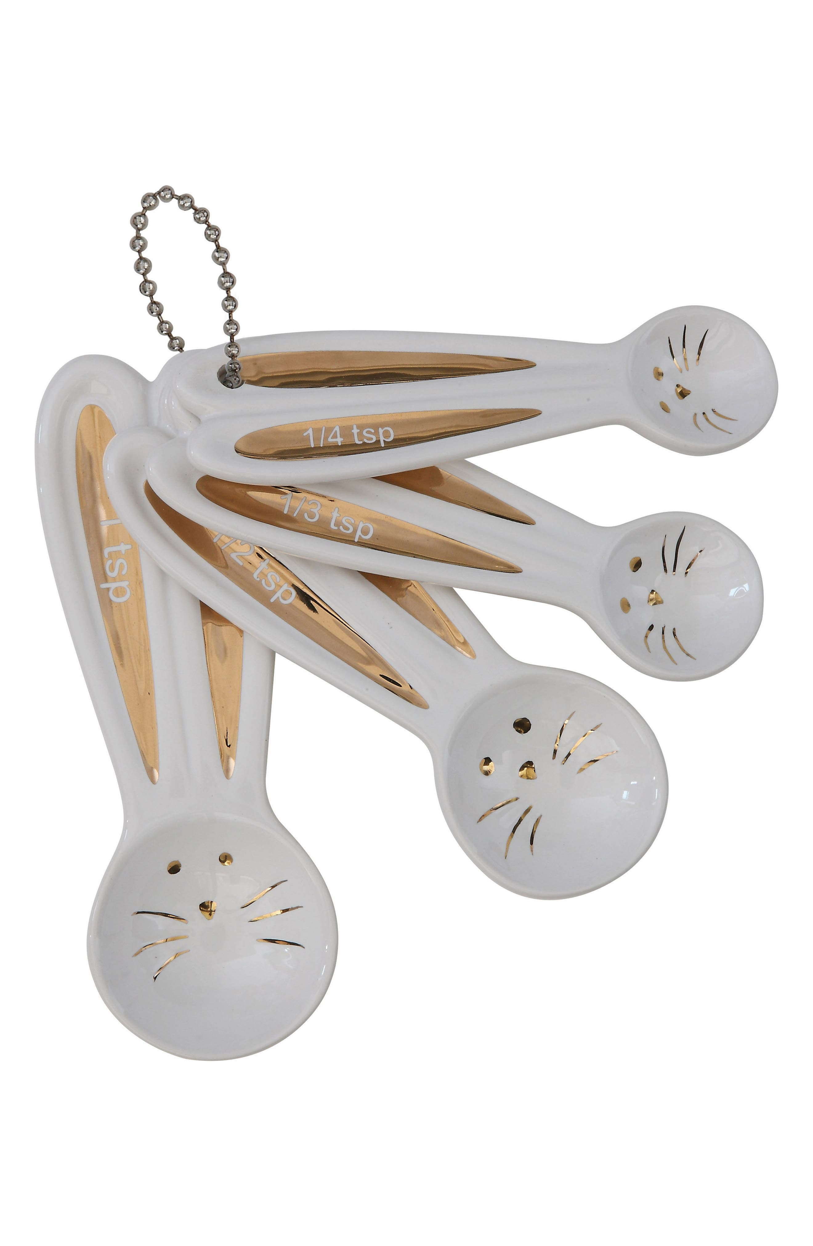 4-Piece Ceramic Bunny Measuring Spoons,                             Main thumbnail 1, color,                             White
