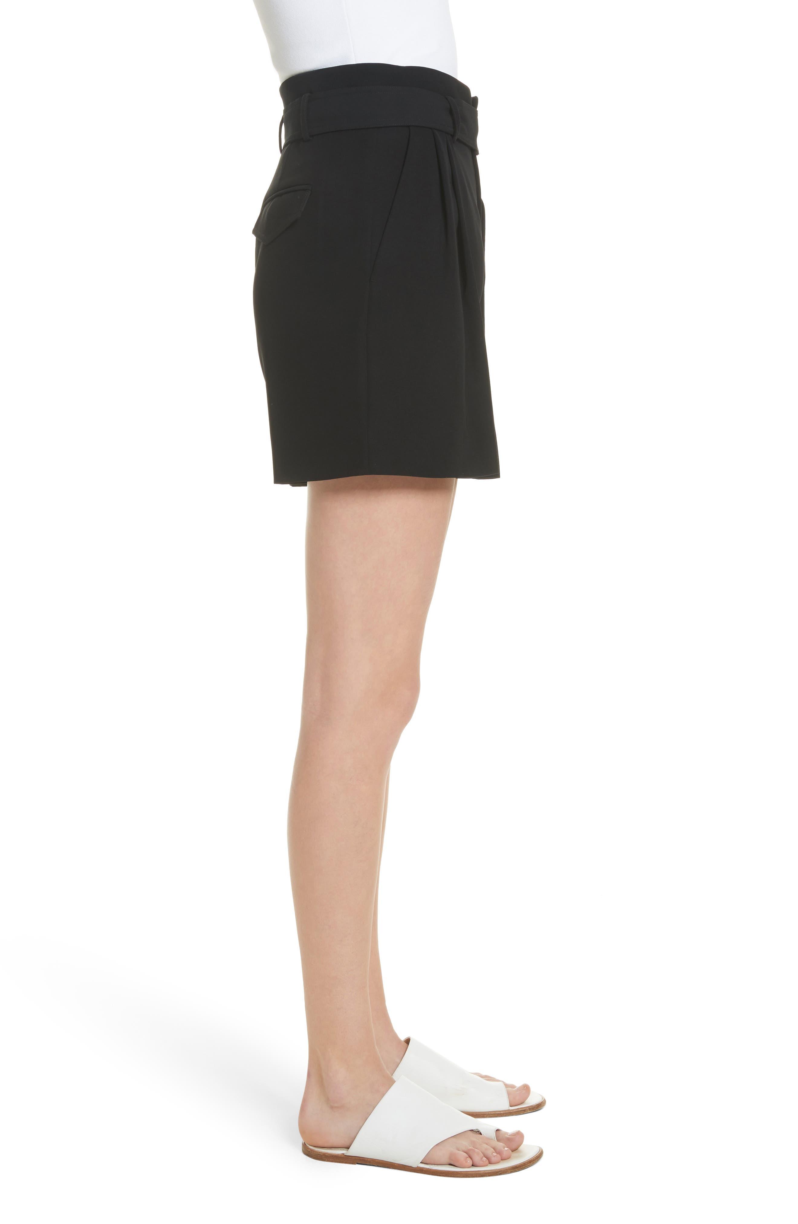 Belted Shorts,                             Alternate thumbnail 3, color,                             Black