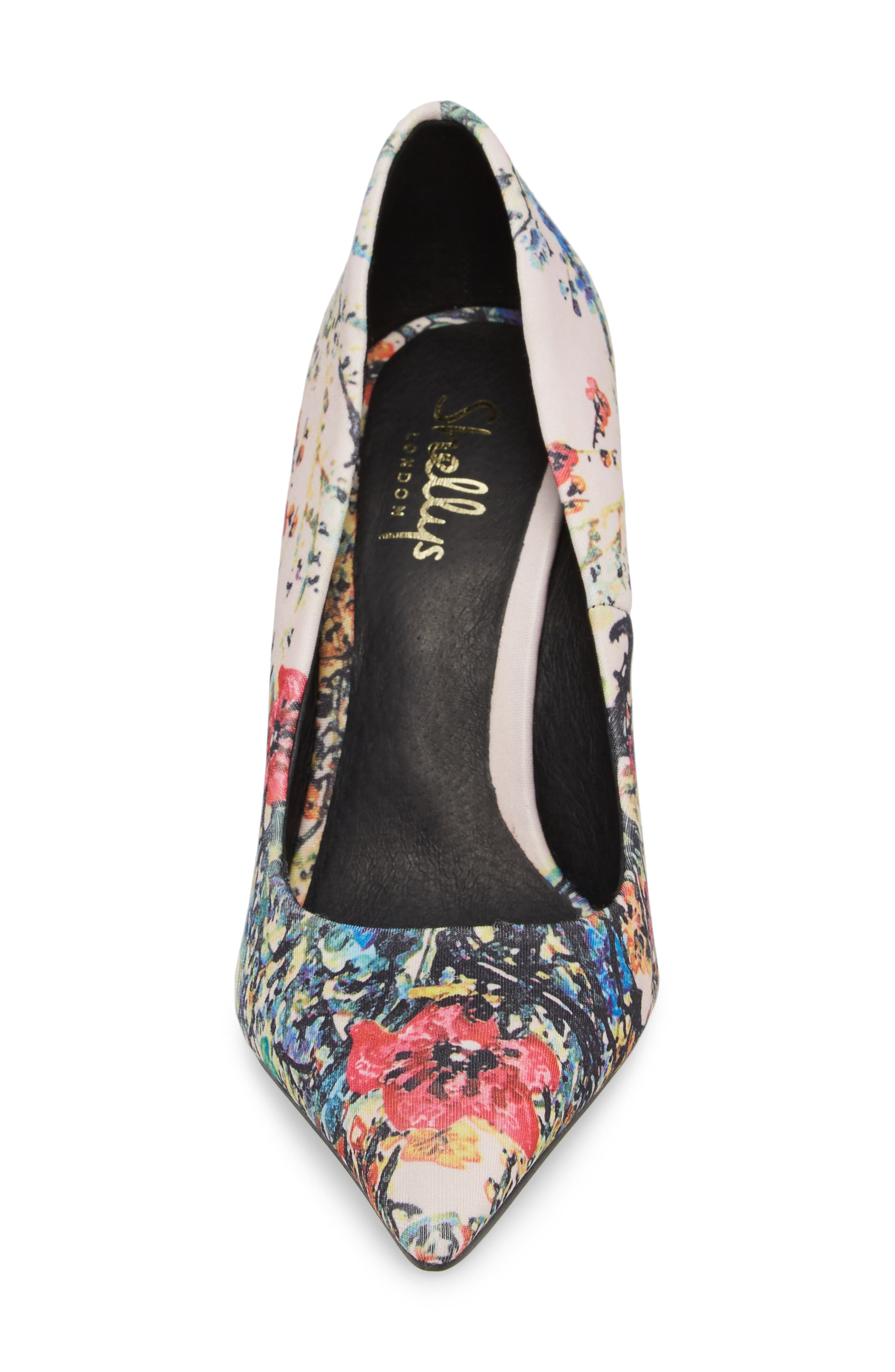 Heather Pointy Toe Pump,                             Alternate thumbnail 4, color,                             Pink Flower Fabric