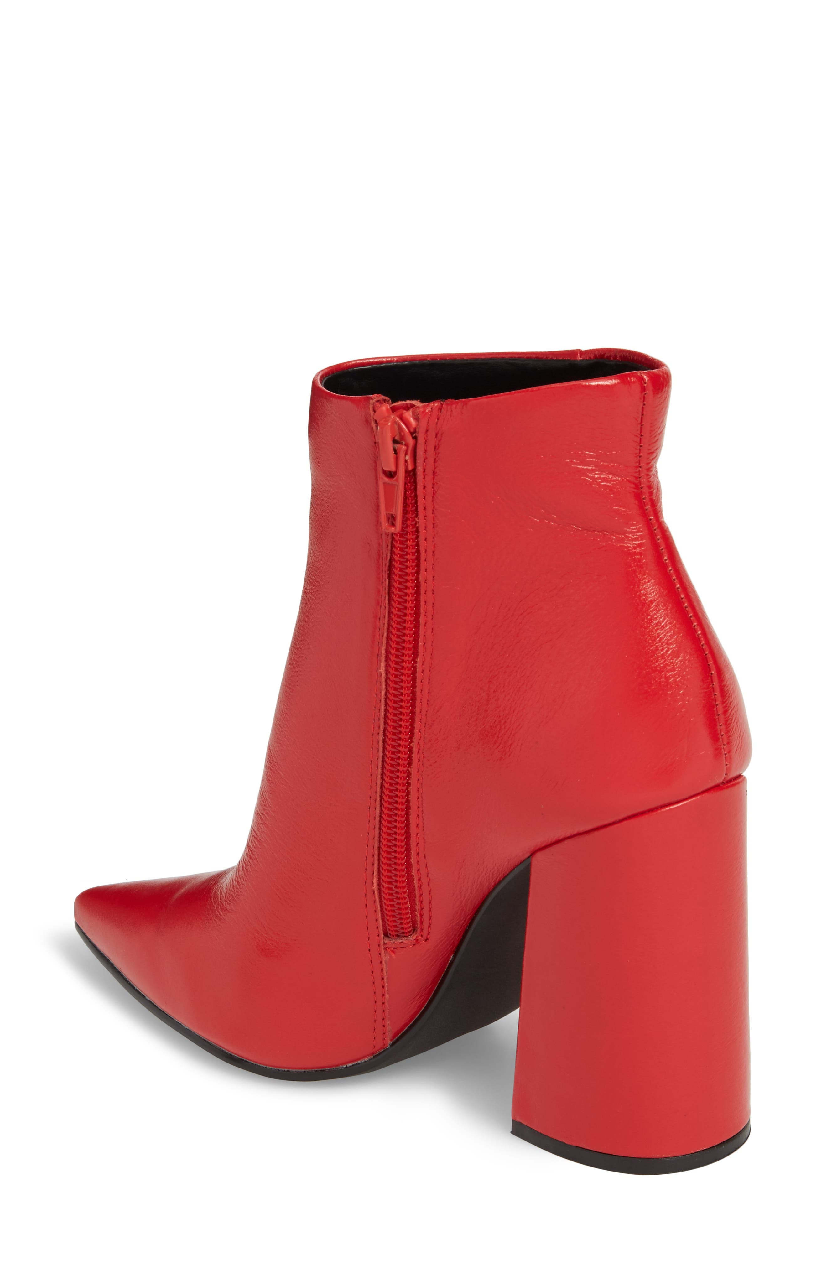 Justify Flared Heel Bootie,                             Alternate thumbnail 2, color,                             Red Leather