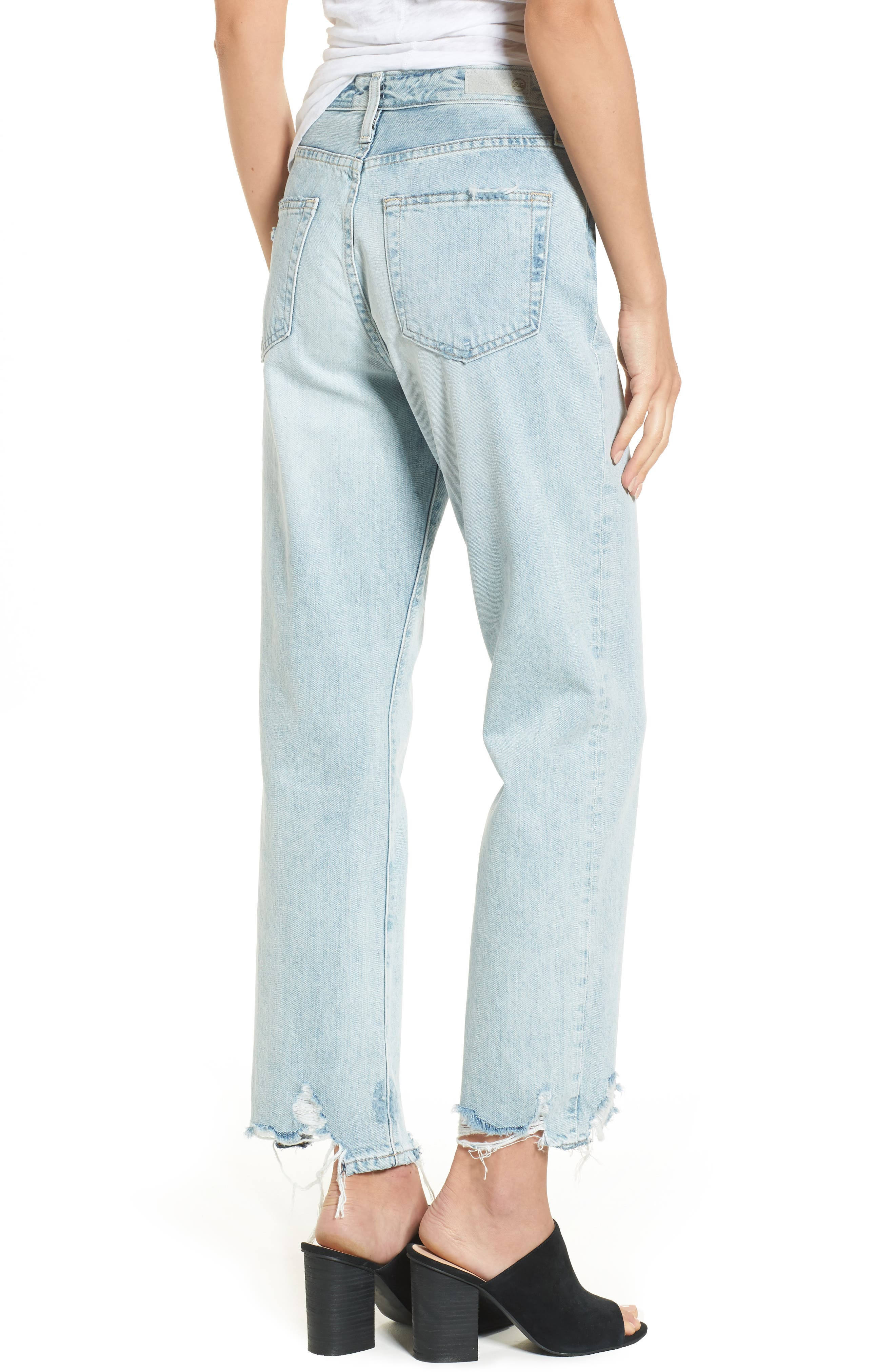 The Phoebe High Rise Straight Leg Jeans,                             Alternate thumbnail 3, color,                             Bering Wave