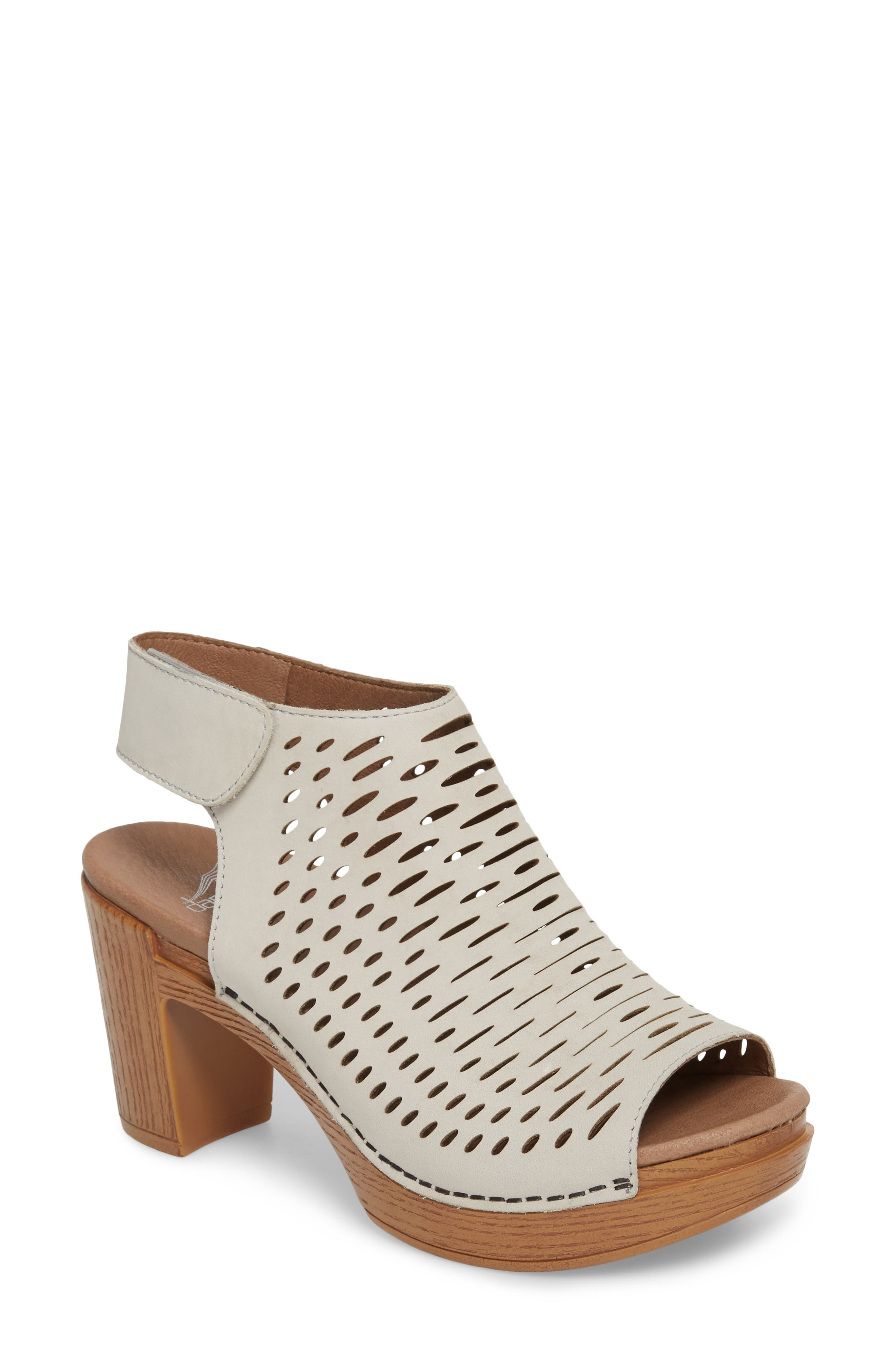 Danae Block Heel Sandal,                         Main,                         color, Oyster Milled Nubuck Leather