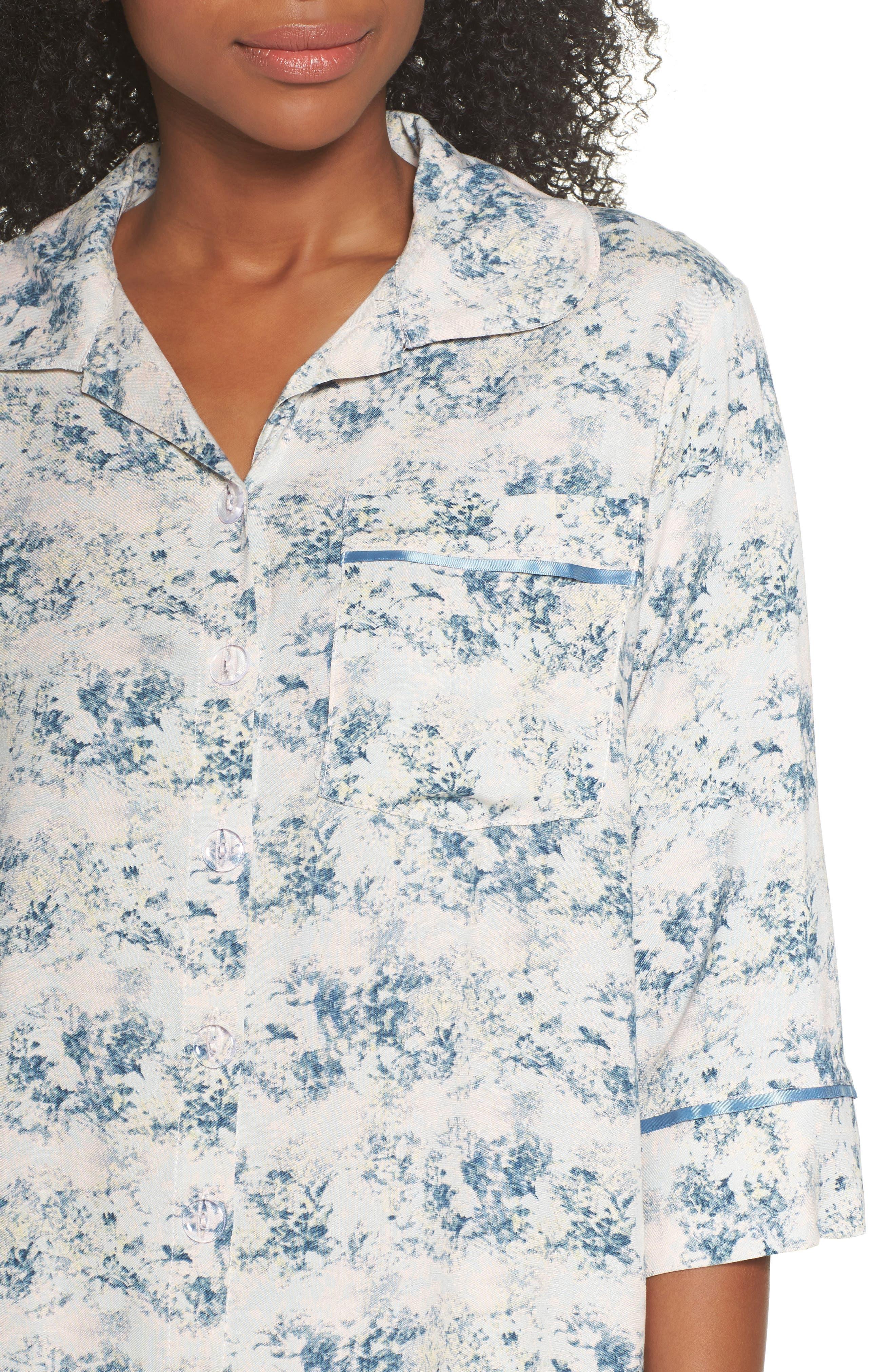 Floral Print Crop Pajamas,                             Alternate thumbnail 5, color,                             Blue