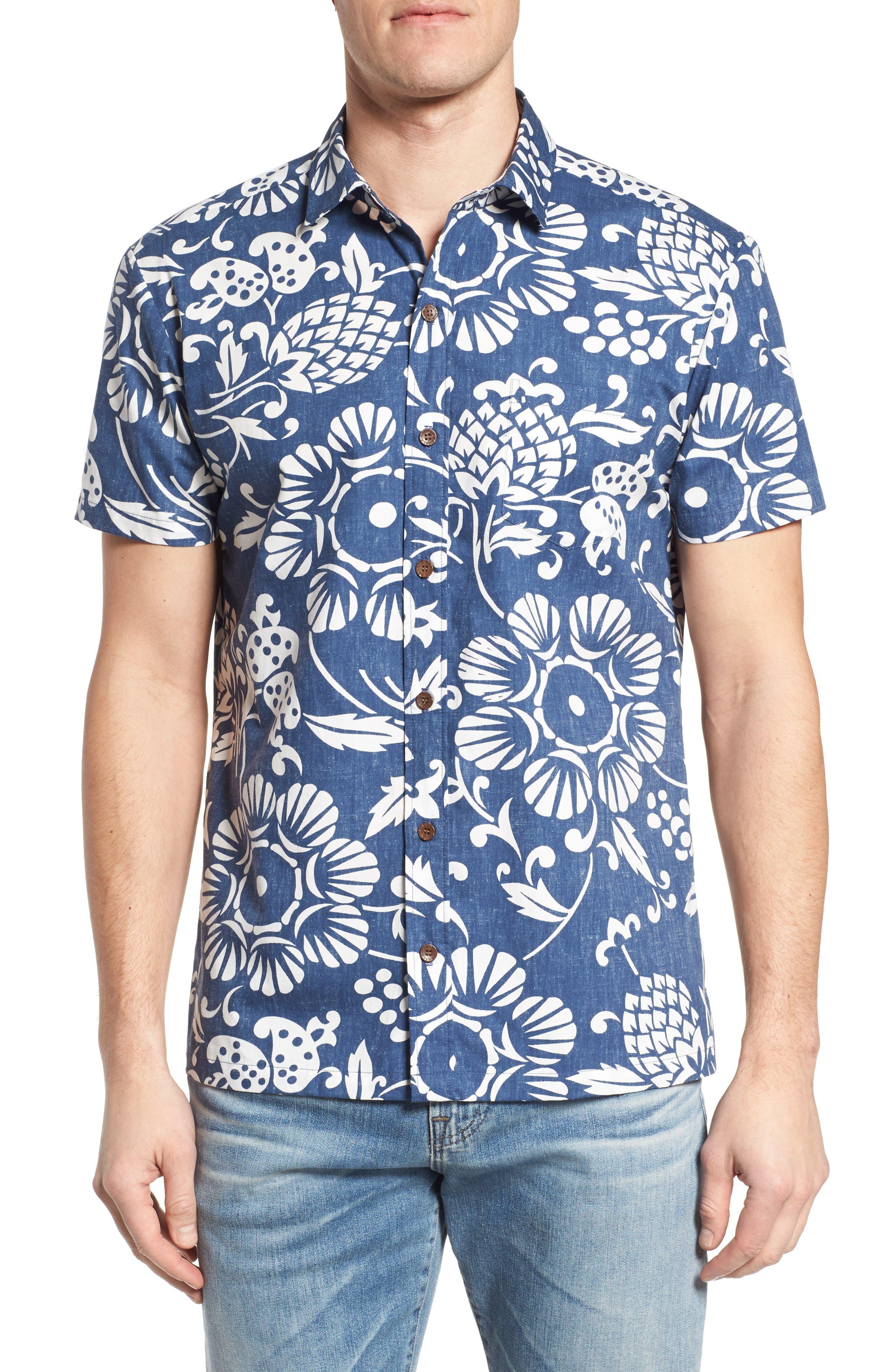 Duke's Pareo Trim Fit Sport Shirt,                         Main,                         color, Navy