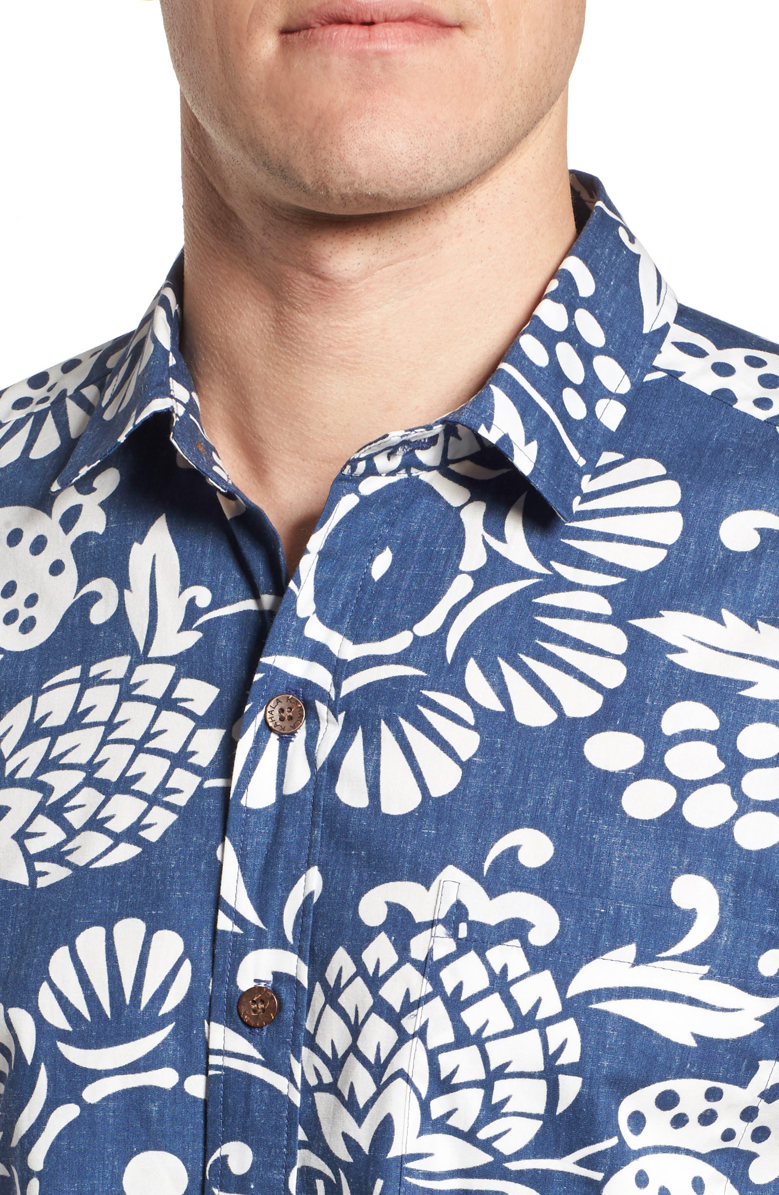 Duke's Pareo Trim Fit Sport Shirt,                             Alternate thumbnail 4, color,                             Navy