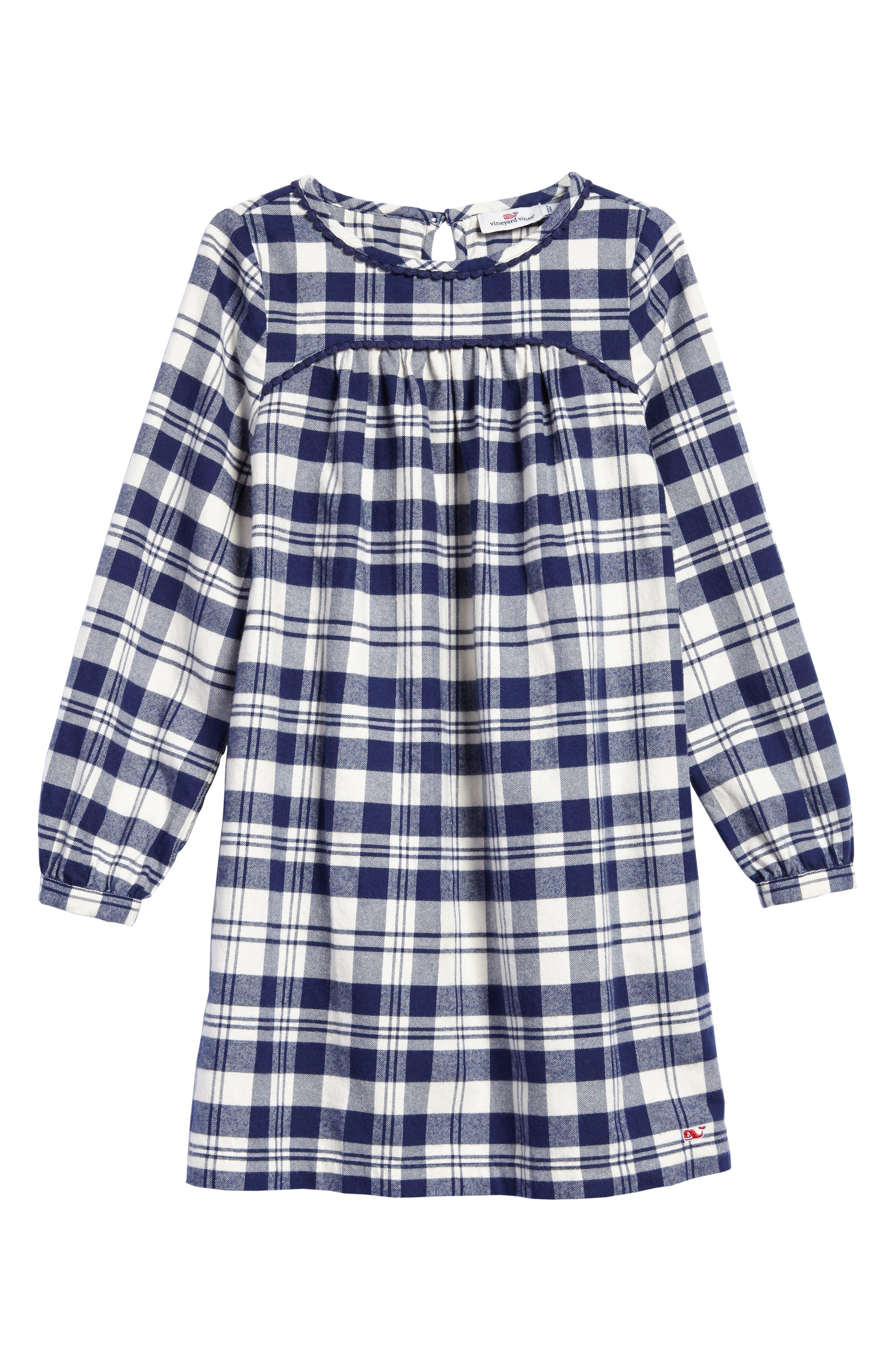 Soirée Plaid Flannel Dress,                         Main,                         color, Deep Bay
