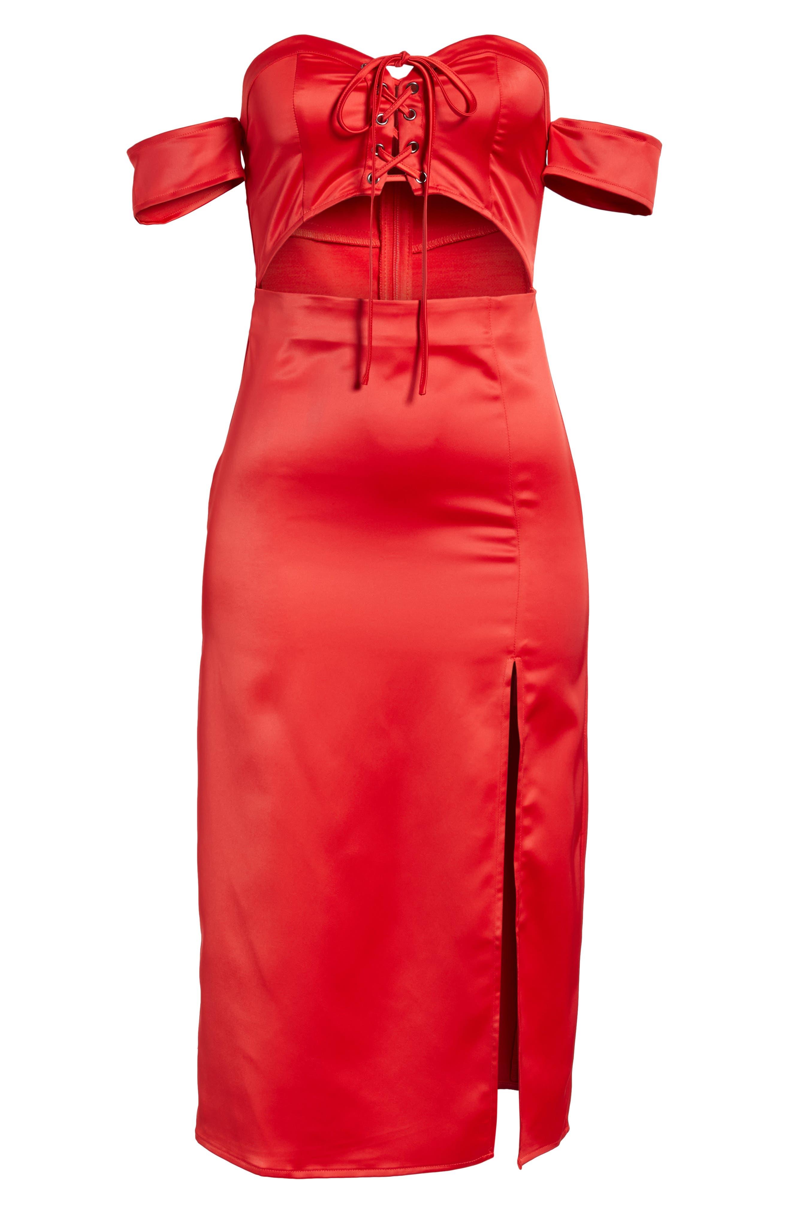 Meagan Midi Dress,                             Alternate thumbnail 6, color,                             Red