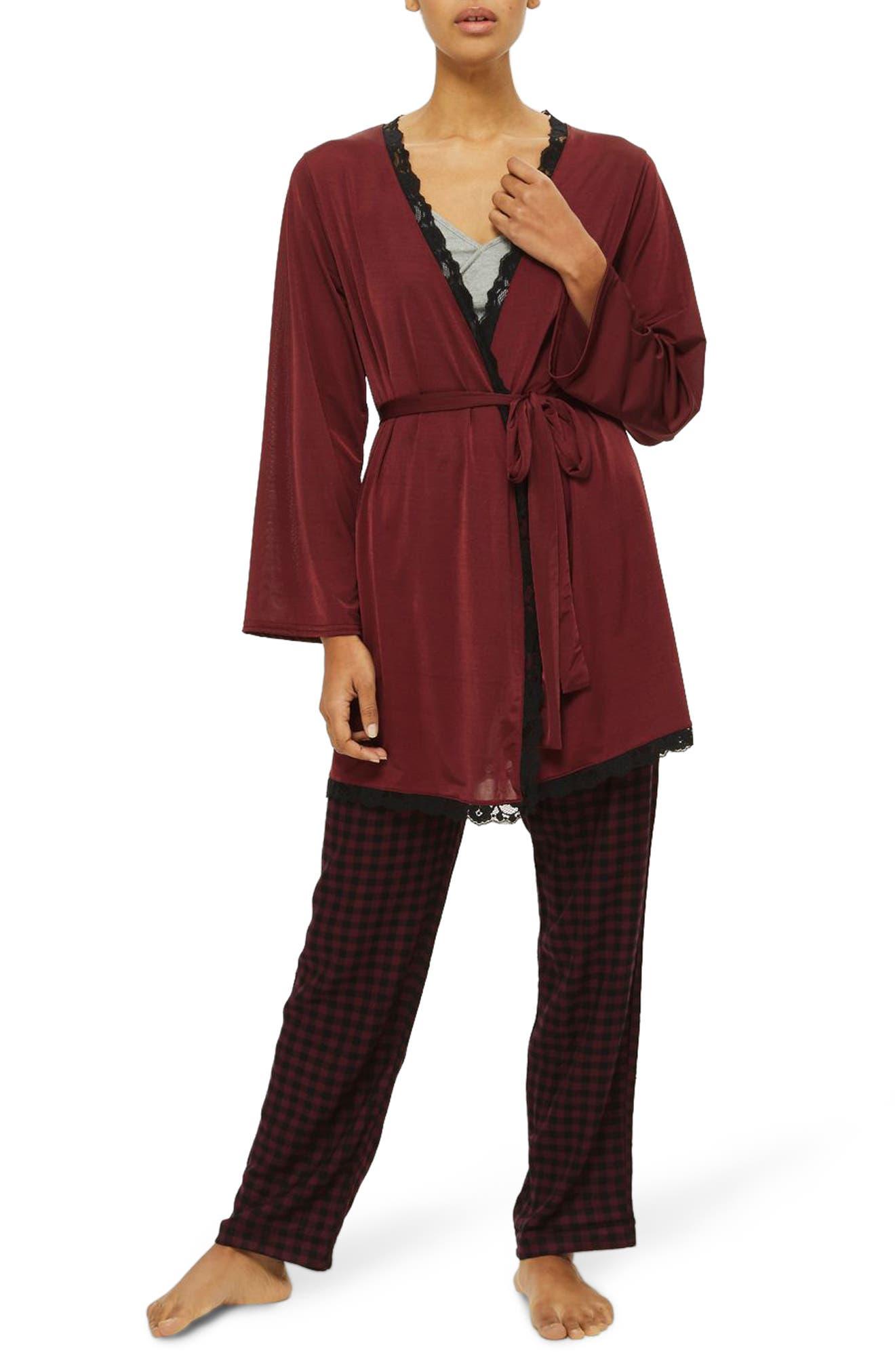 Satin Jersey Robe,                             Main thumbnail 1, color,                             Berry Multi