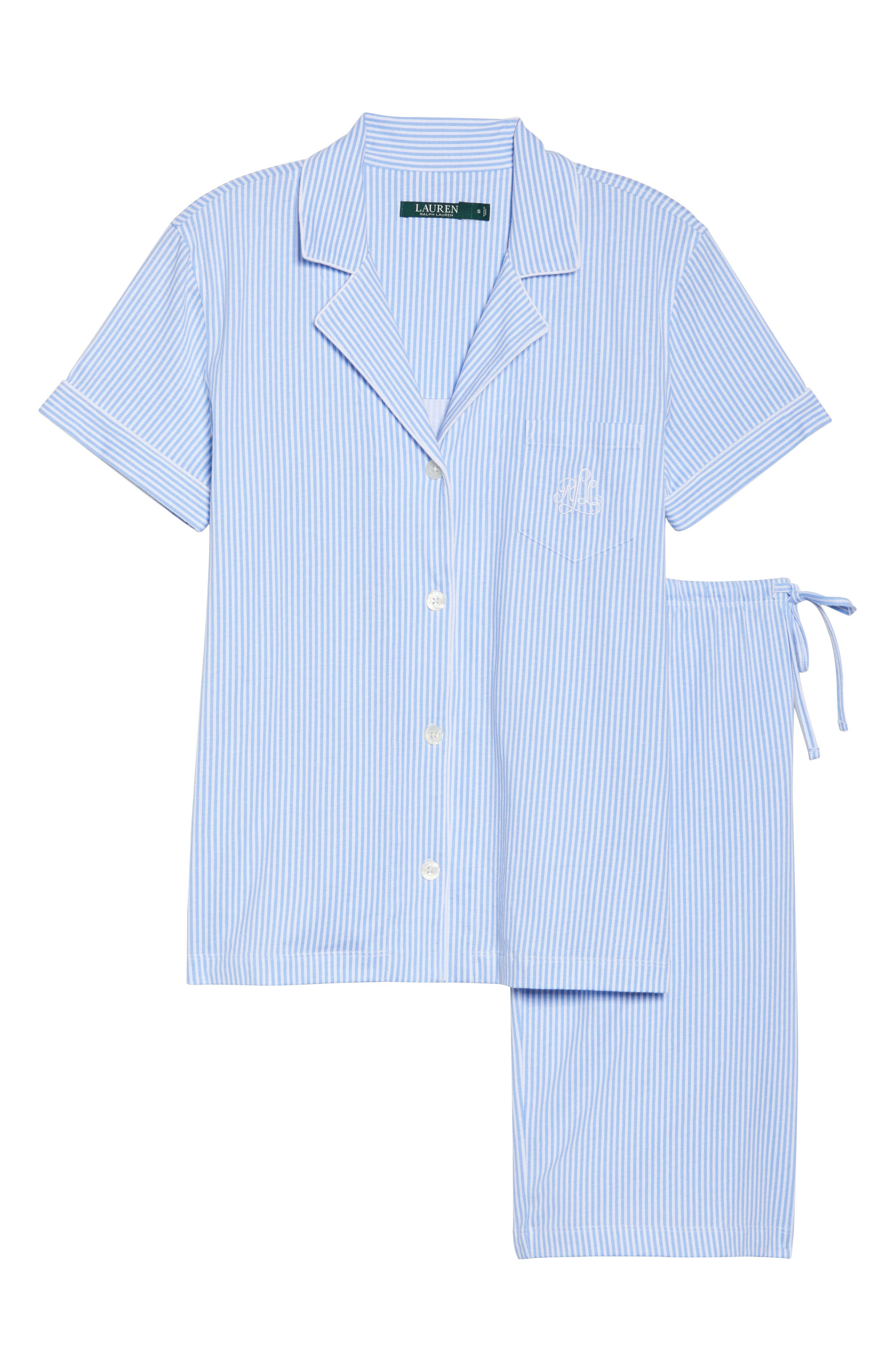 Bermuda Pajamas,                             Alternate thumbnail 6, color,                             Feather Blue Stripe
