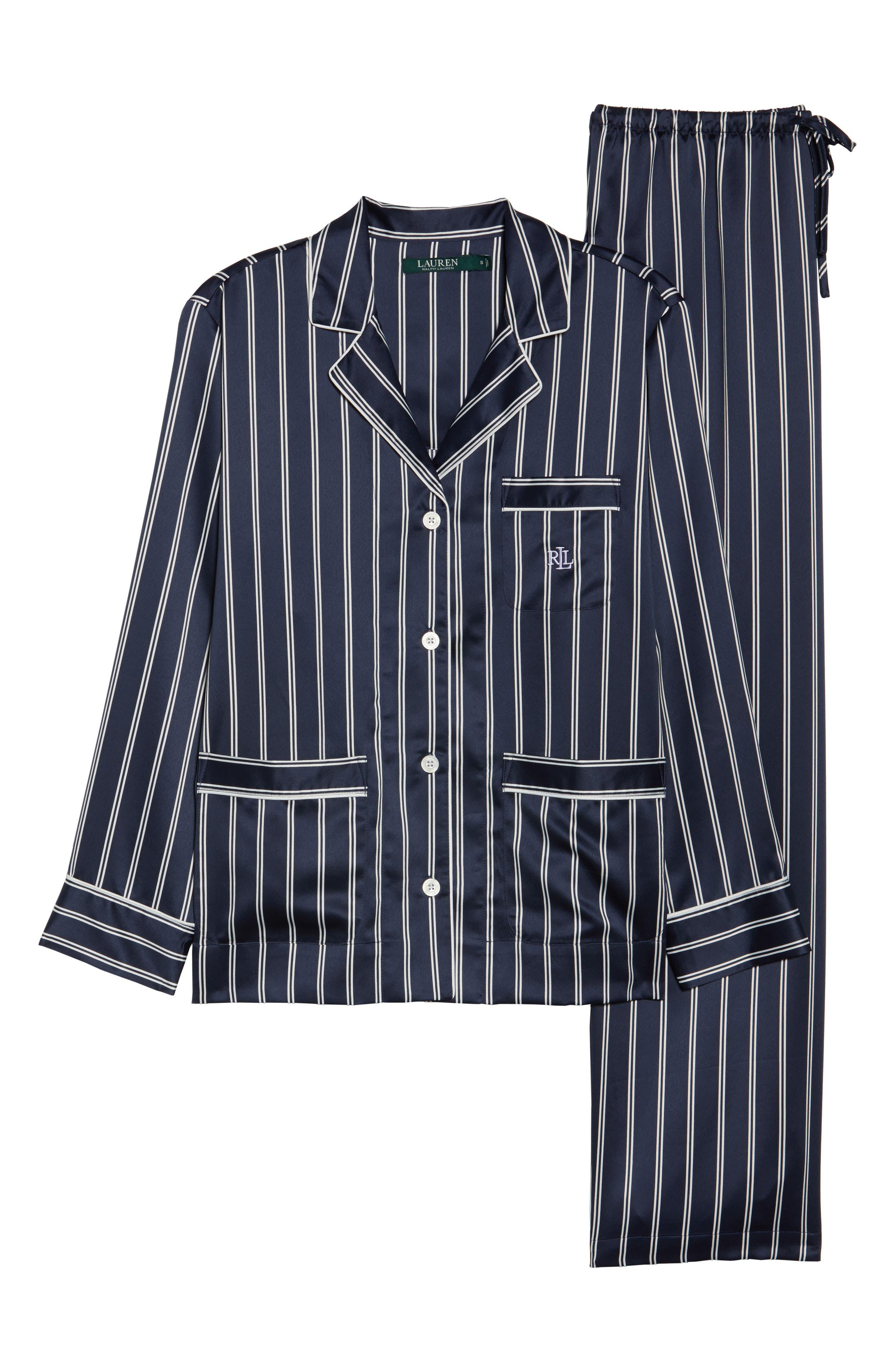 Satin Pajamas,                             Alternate thumbnail 6, color,                             Navy Stripe