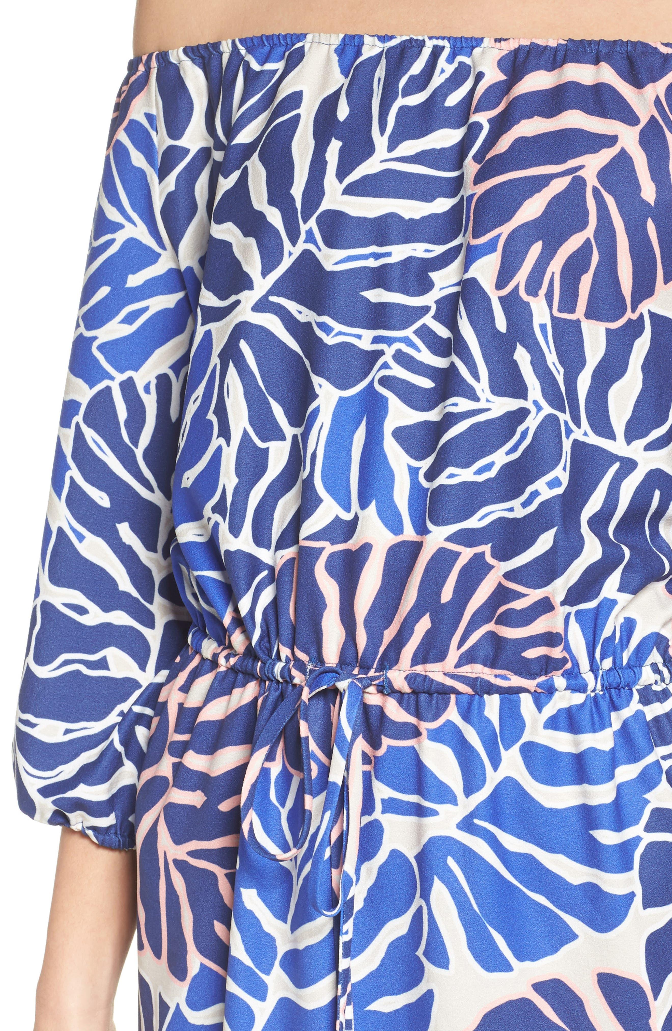 Leilani Off the Shoulder Dress,                             Alternate thumbnail 4, color,                             Palm Print