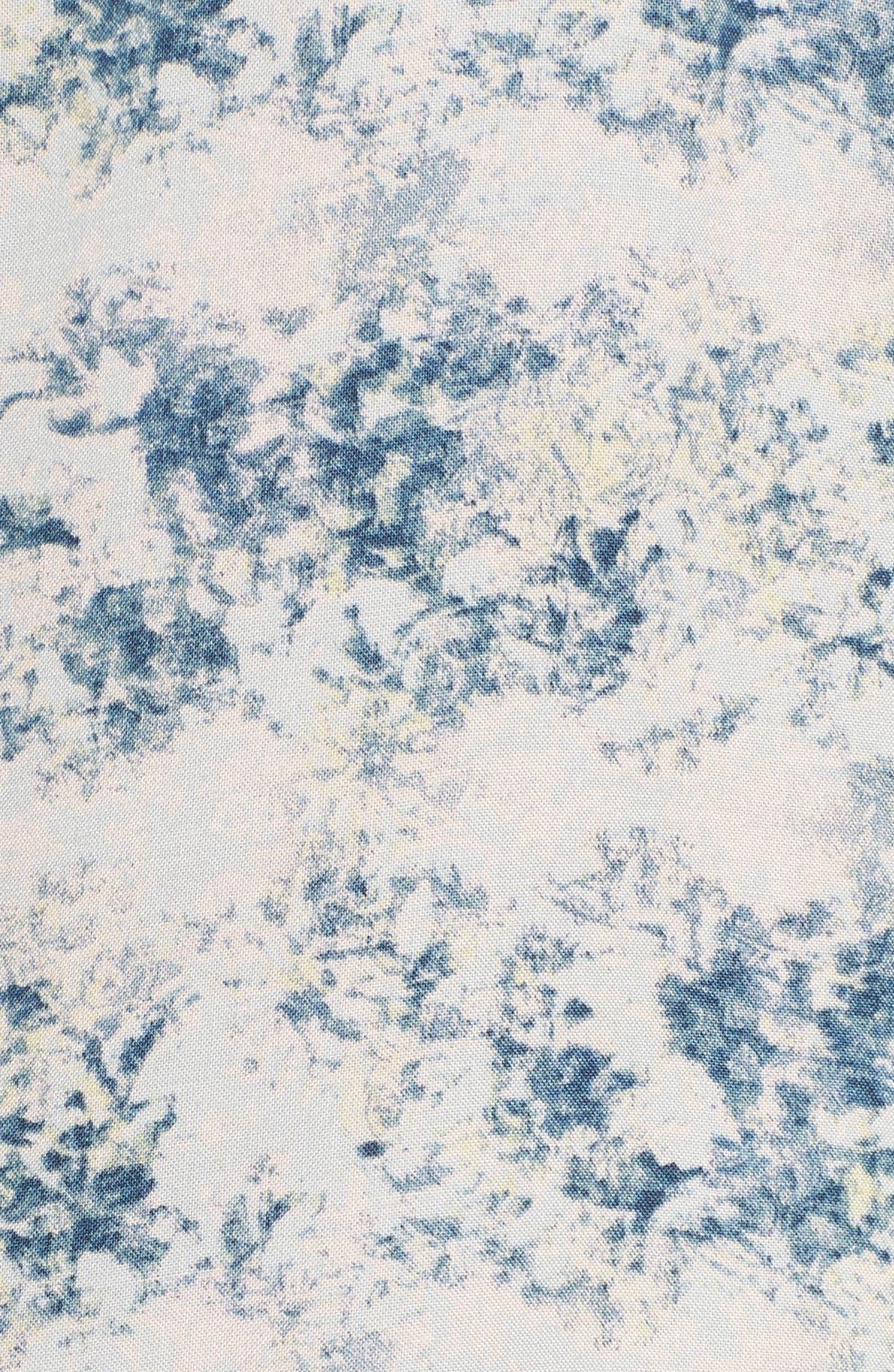 Floral Print Crop Pajamas,                             Alternate thumbnail 6, color,                             Blue