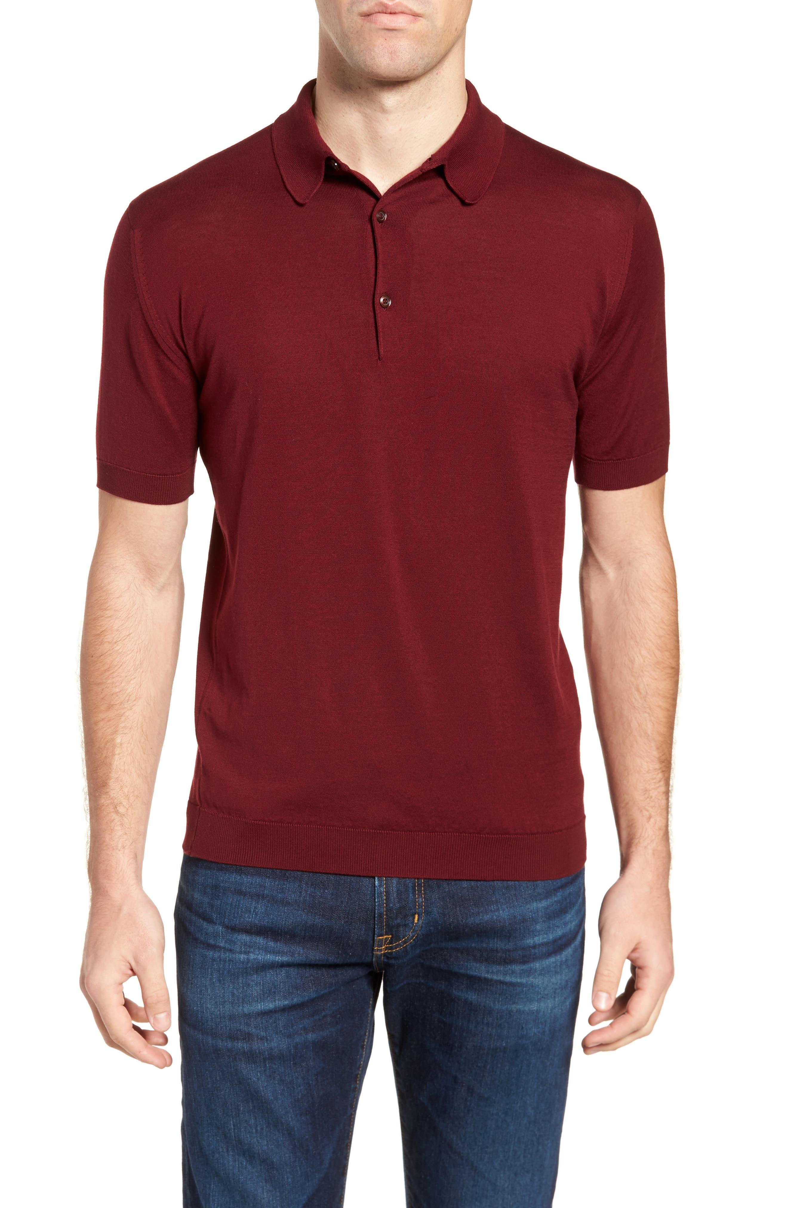 Jersey Polo,                         Main,                         color, Burgundy Grain
