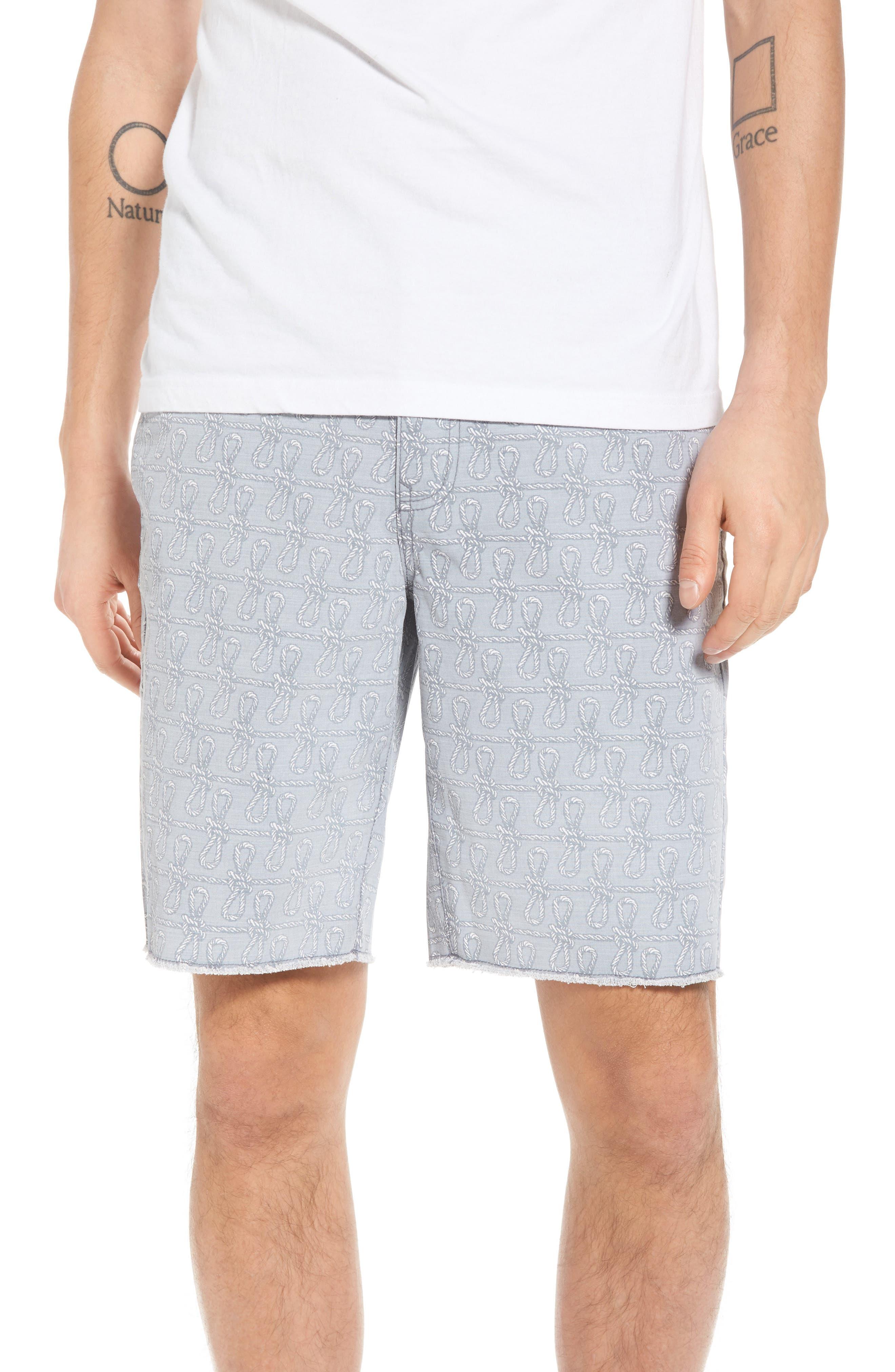 Print Frost Wash Shorts,                         Main,                         color, Grey Rope Print
