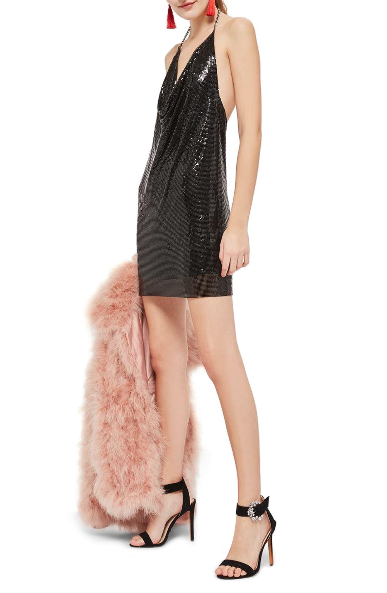 Chainmail Halter Dress,                             Alternate thumbnail 3, color,                             Black