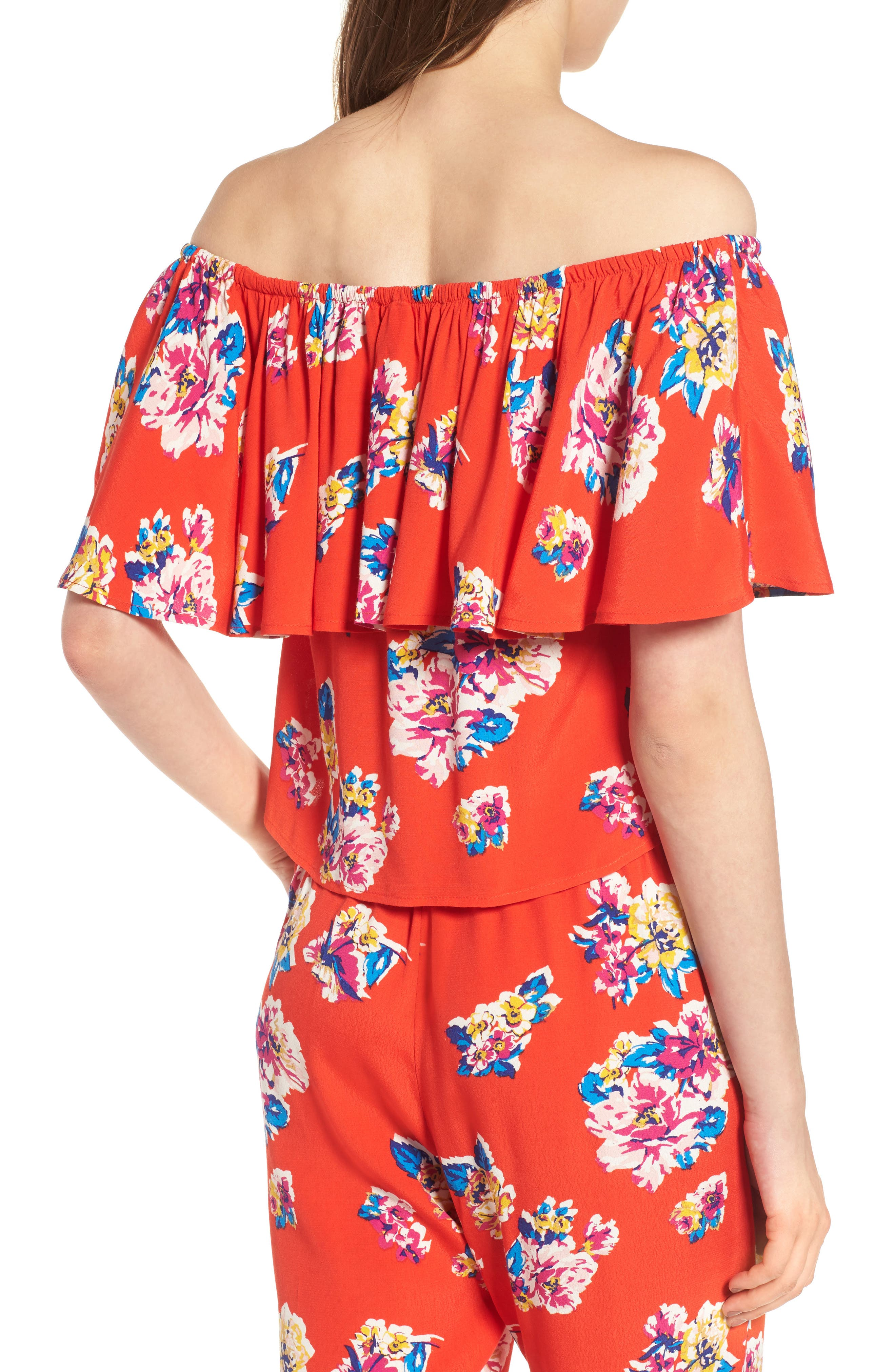 Print Ruffle Off the Shoulder Top,                             Alternate thumbnail 3, color,                             Red Fiery Bold Bloom