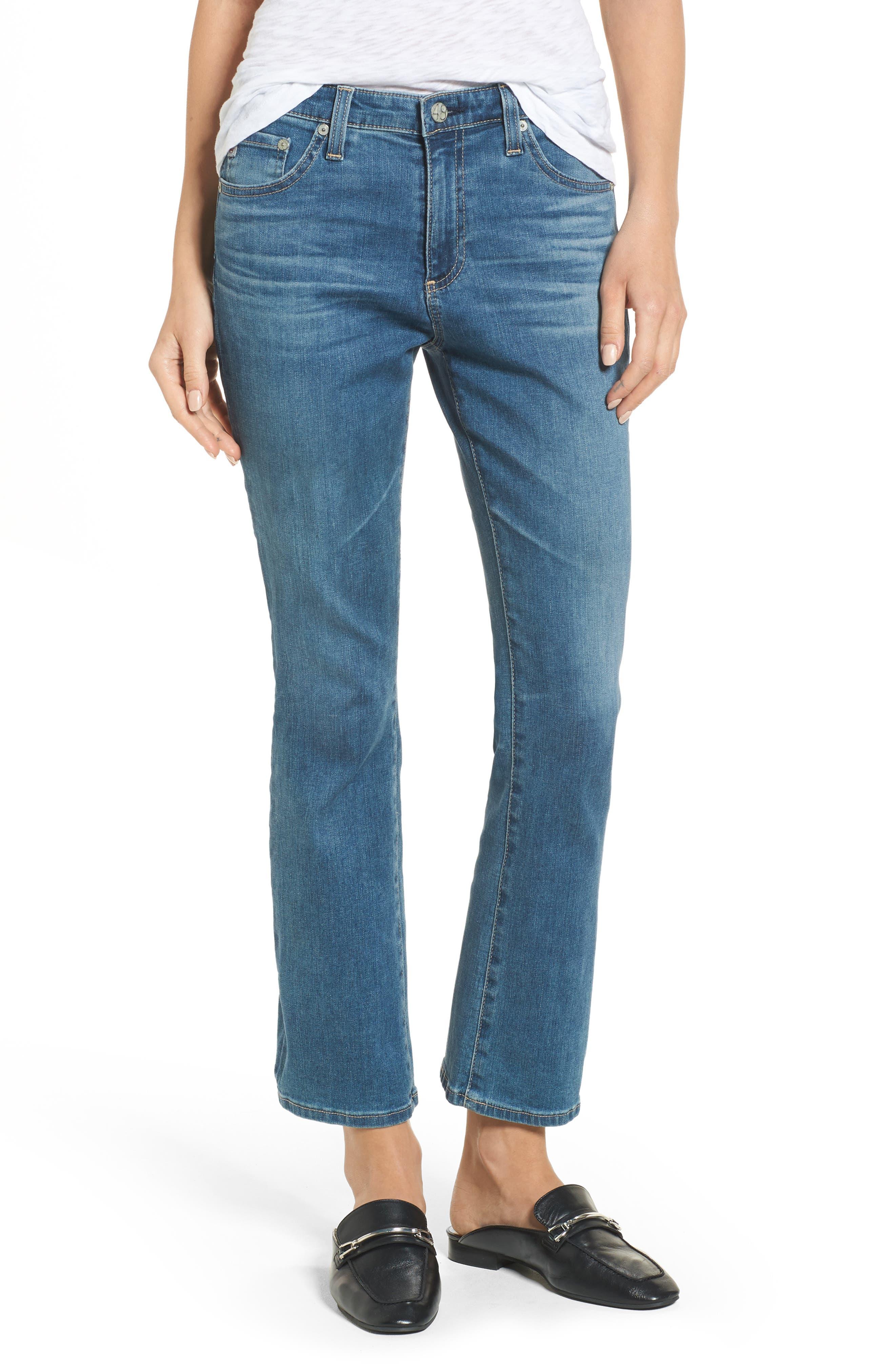 Alternate Image 1 Selected - AG Jodi High Waist Crop Jeans (10 Years Sea Mist)