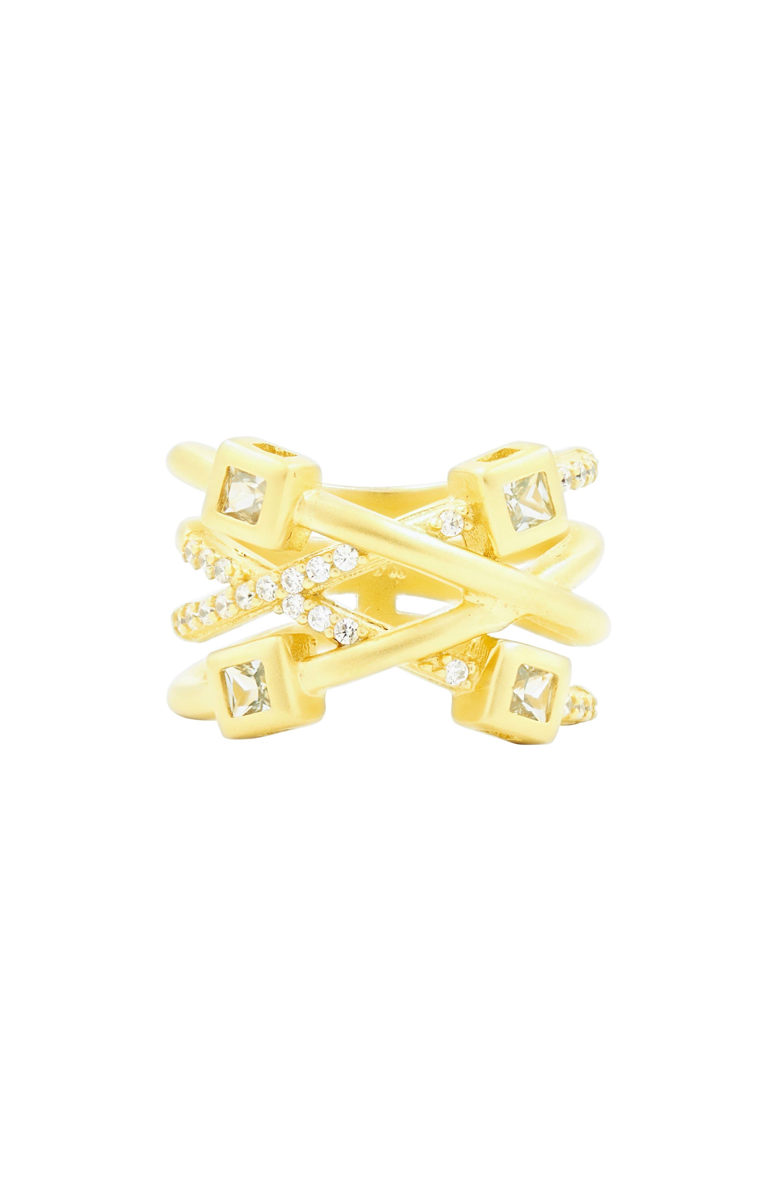 Ocean Azure Cubic Zirconia Ring,                             Main thumbnail 1, color,                             Gold/ Aqua