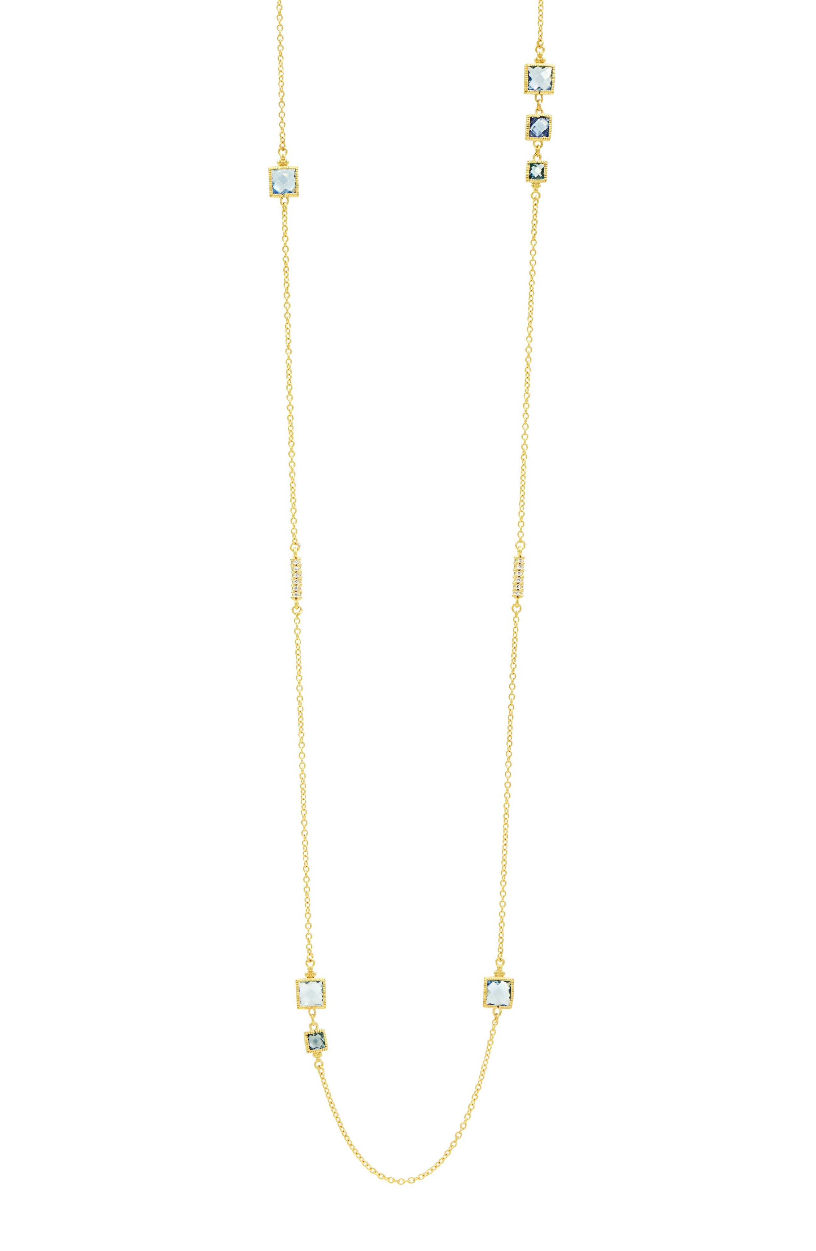 Ocean Azure Station Necklace,                             Main thumbnail 1, color,                             Gold/ Aqua