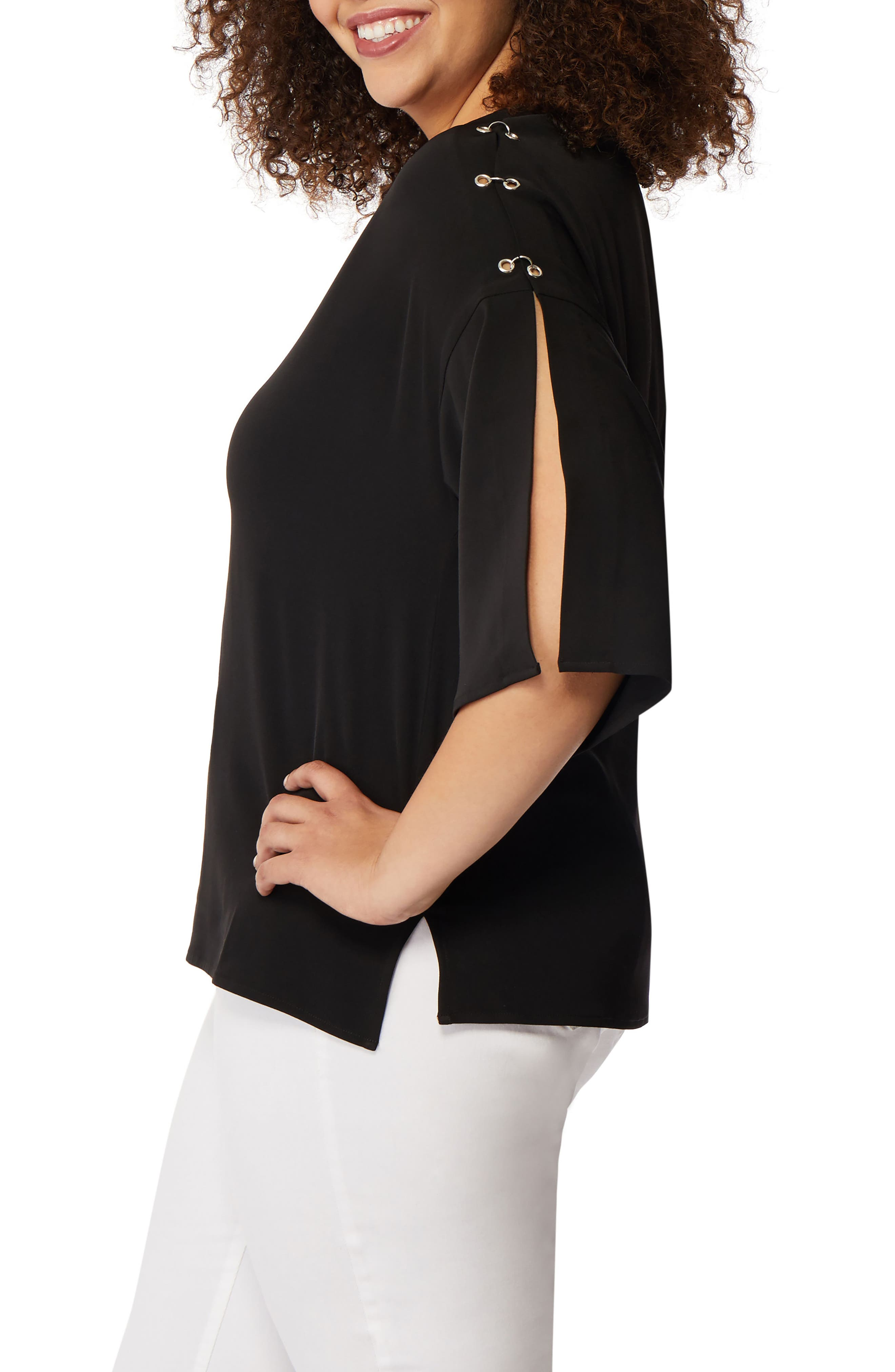 Pierced Split Sleeve Blouse,                             Alternate thumbnail 3, color,                             Black