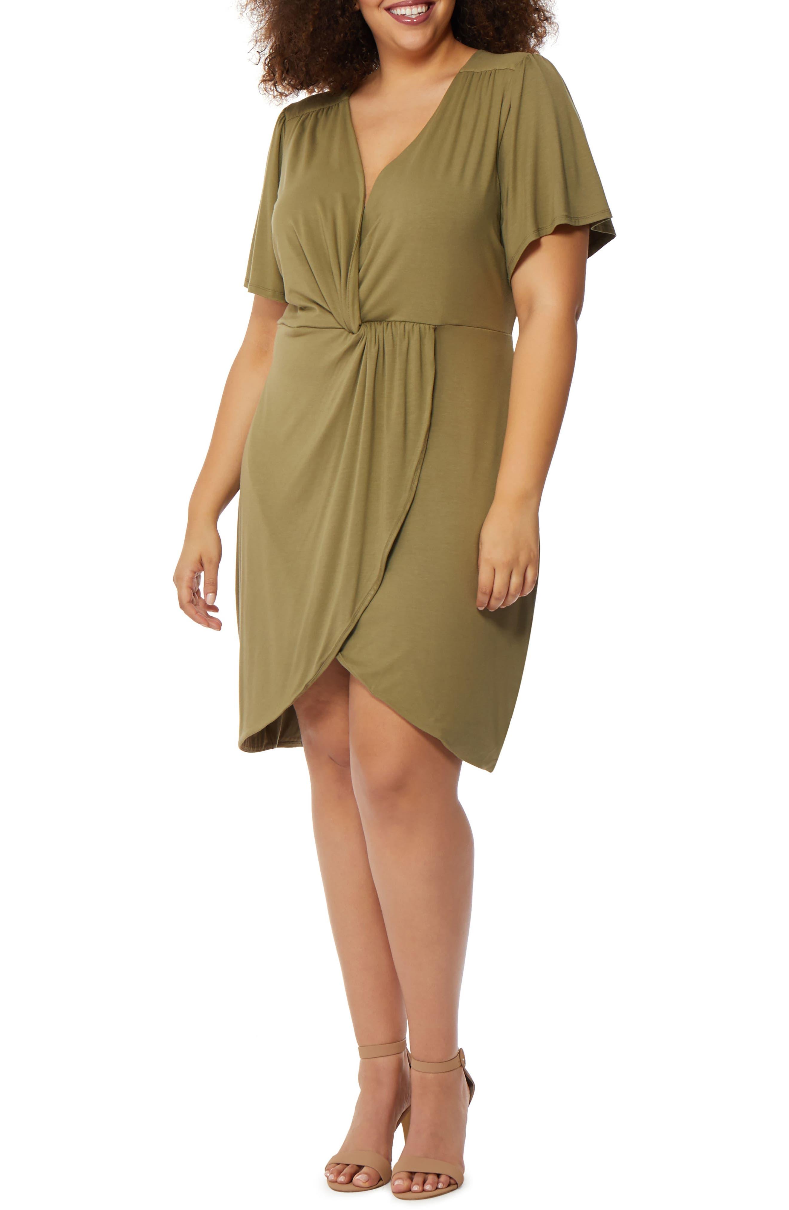 Twist Front Dress,                         Main,                         color, Burnt Olive