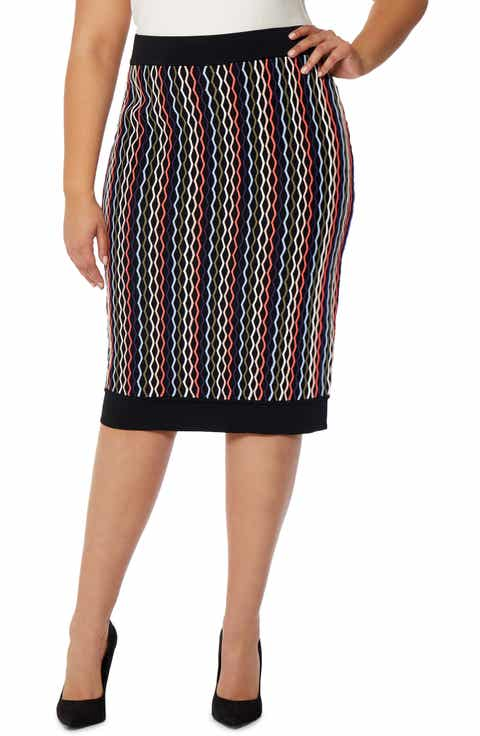 Rebel Wilson x Angels Textured Pattern Pencil Skirt (Plus Size)