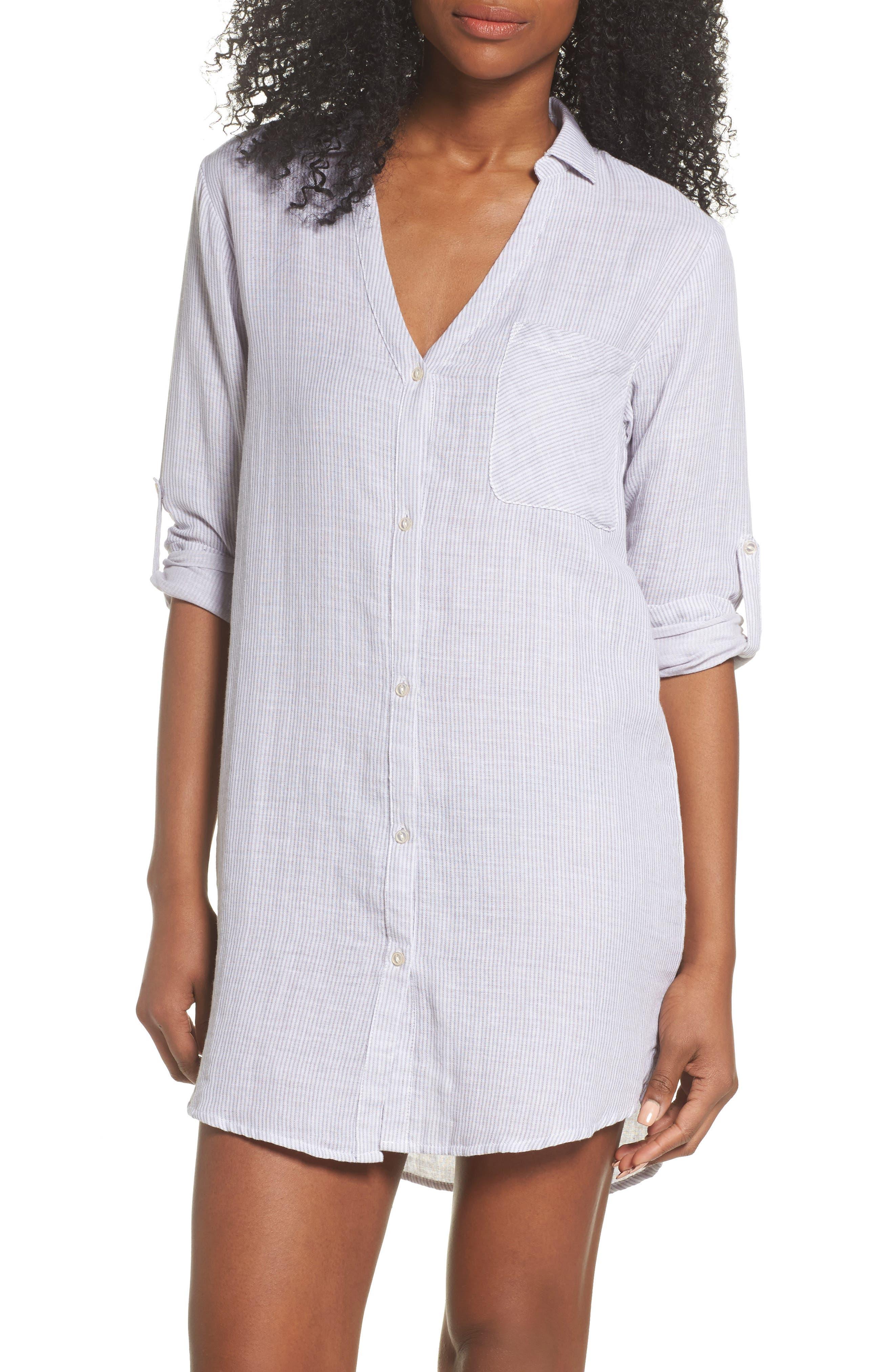 Stripe Sleep Shirt,                             Main thumbnail 1, color,                             Grey/ White