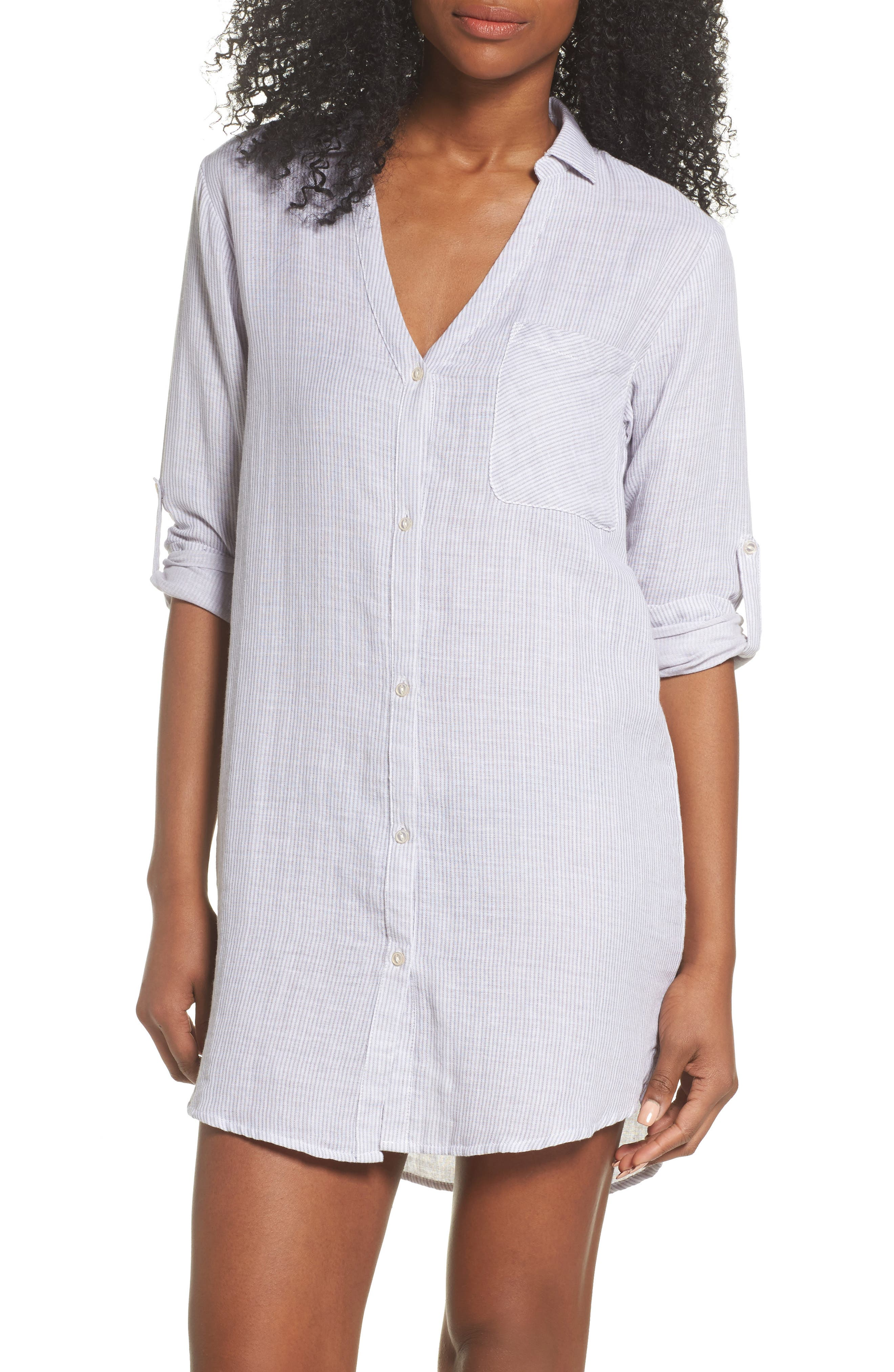 Stripe Sleep Shirt,                         Main,                         color, Grey/ White