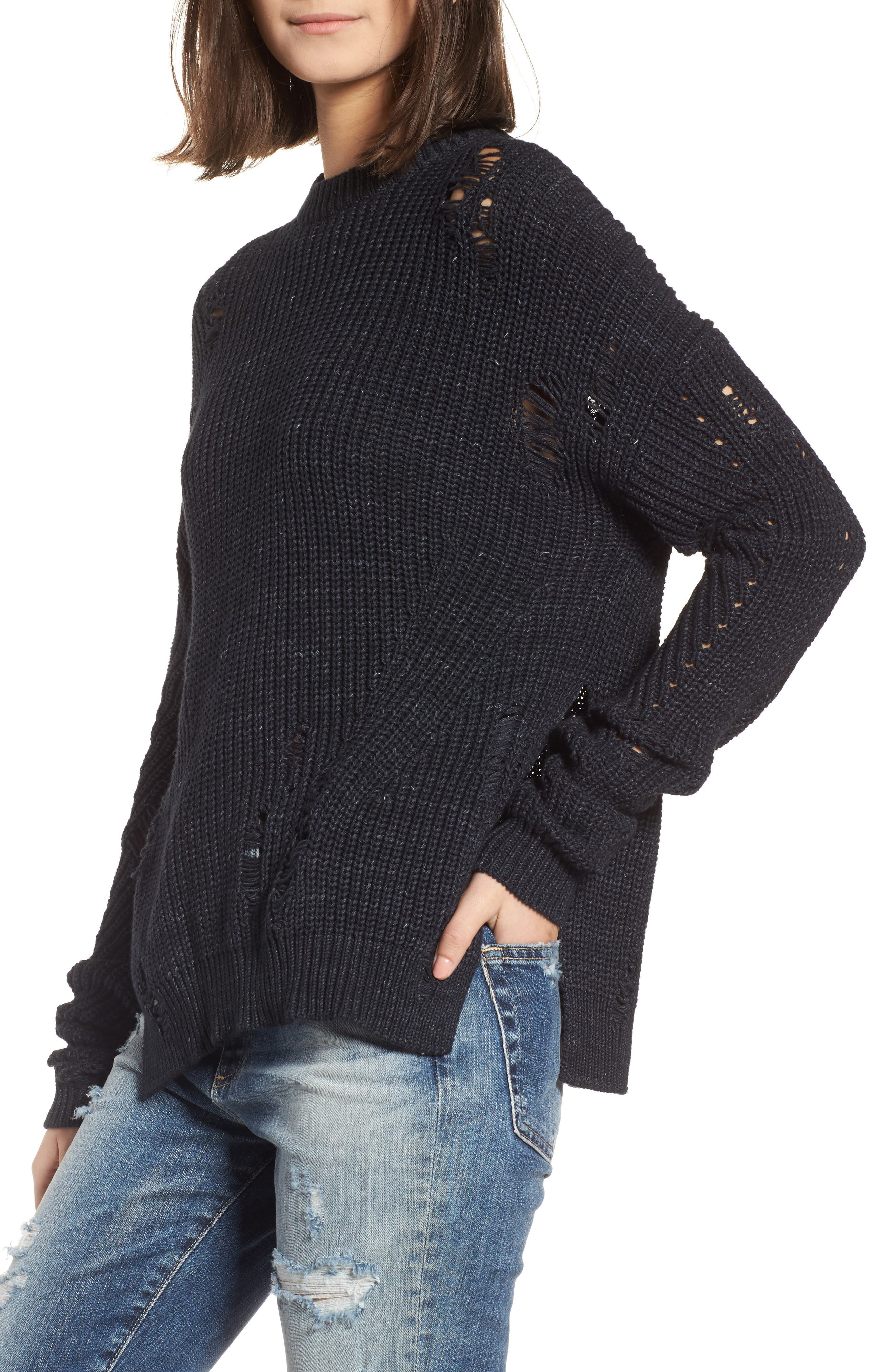Finn Distressed Sweater,                         Main,                         color, Speckled Midnight Sky