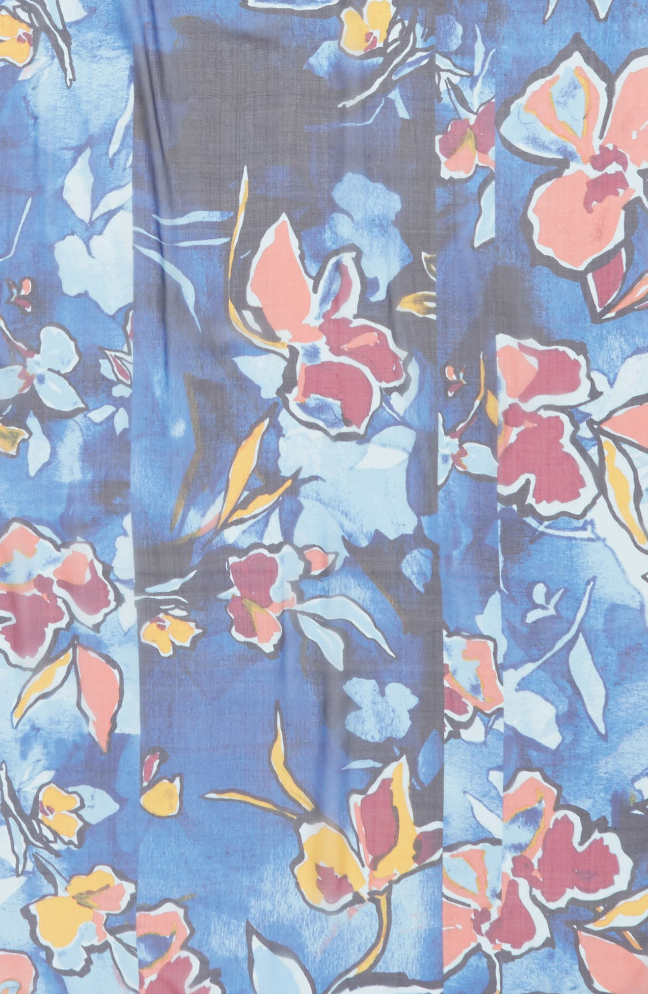 Silk Chiffon Oblong Scarf,                             Alternate thumbnail 4, color,                             Blue Textured Blooms