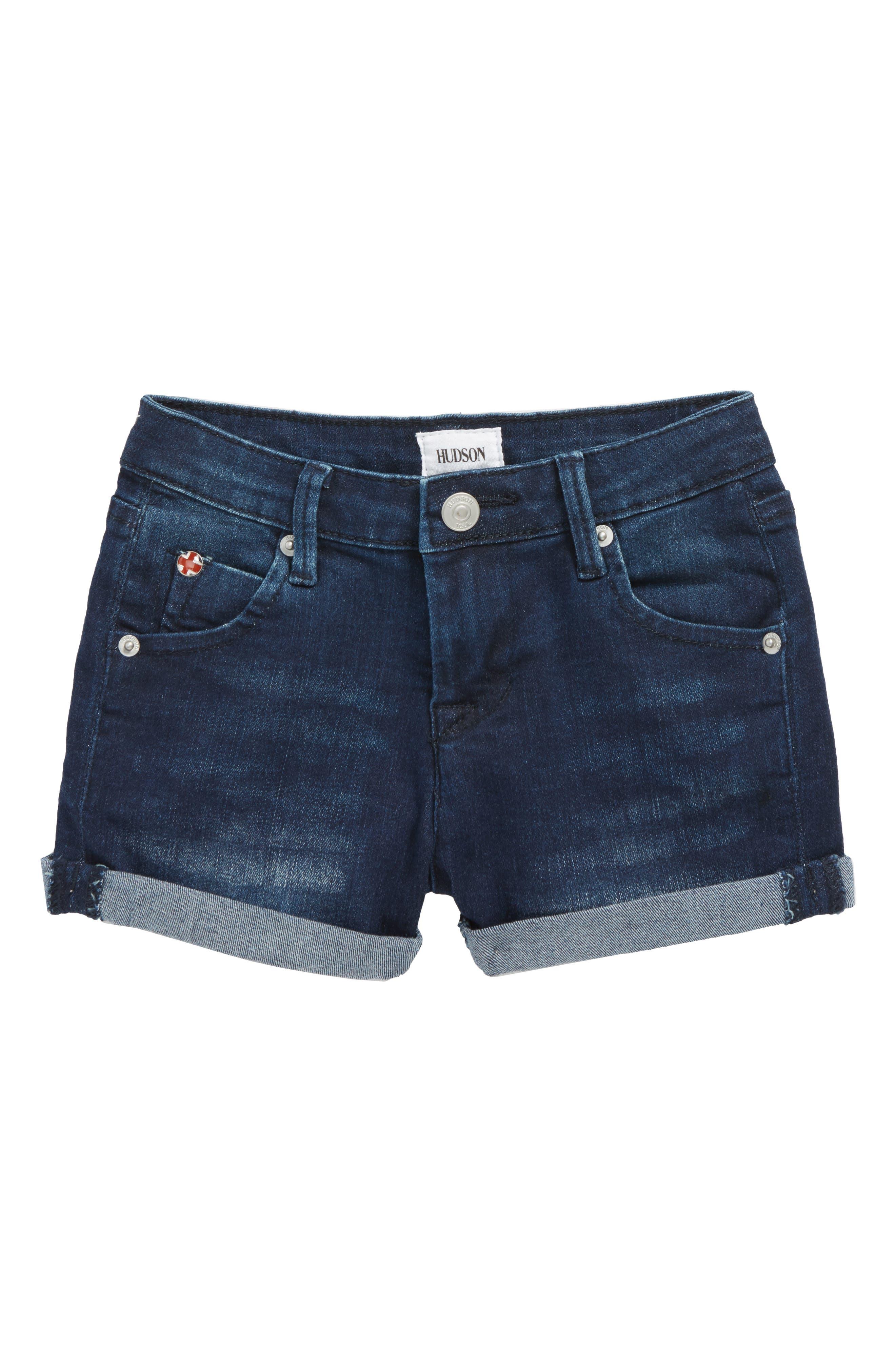 Roll Cuff Denim Shorts,                         Main,                         color, Low Octane Blue