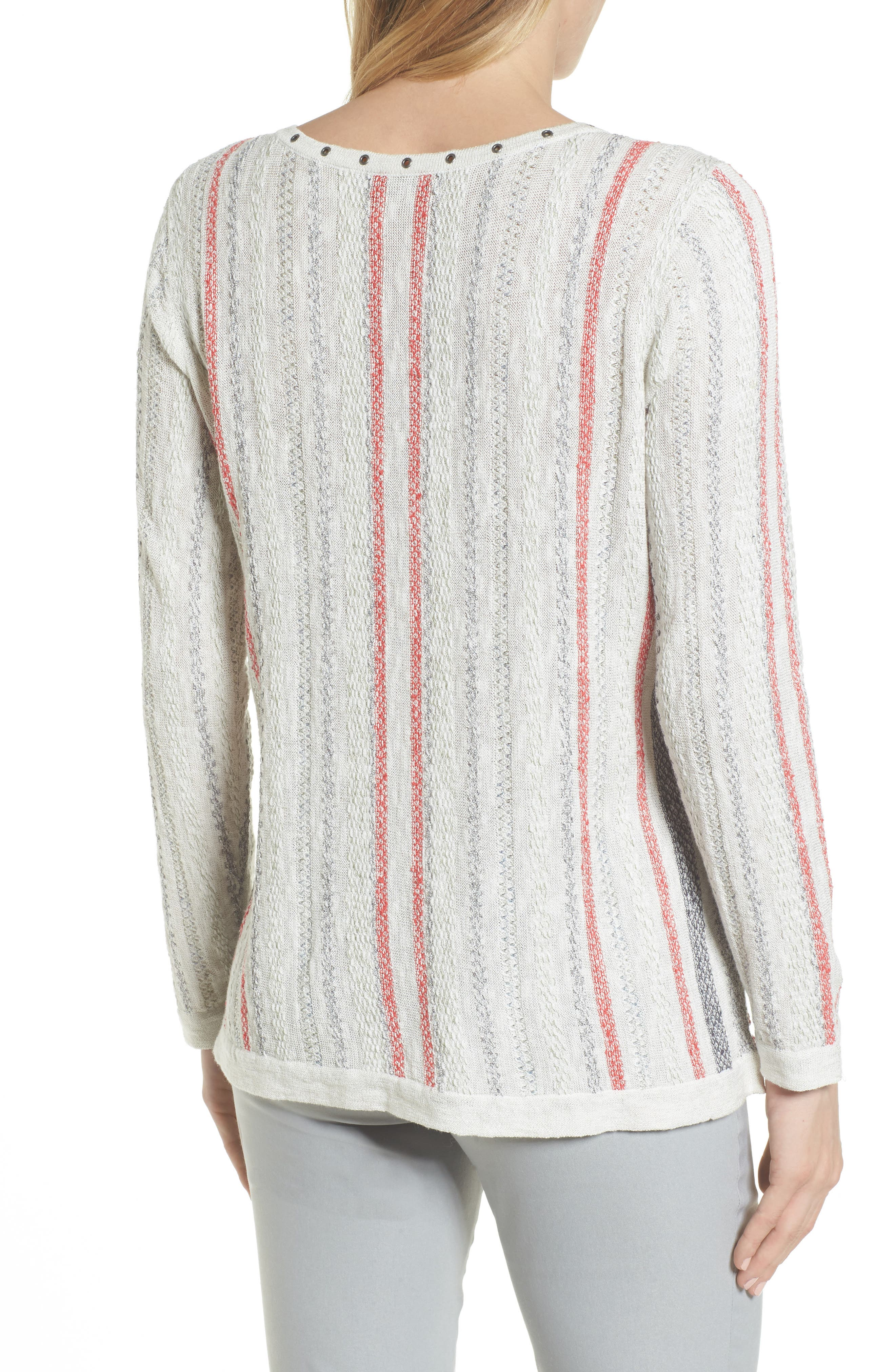 NIC + ZOE Cross Country Lace-Up Top,                             Alternate thumbnail 2, color,                             Multi