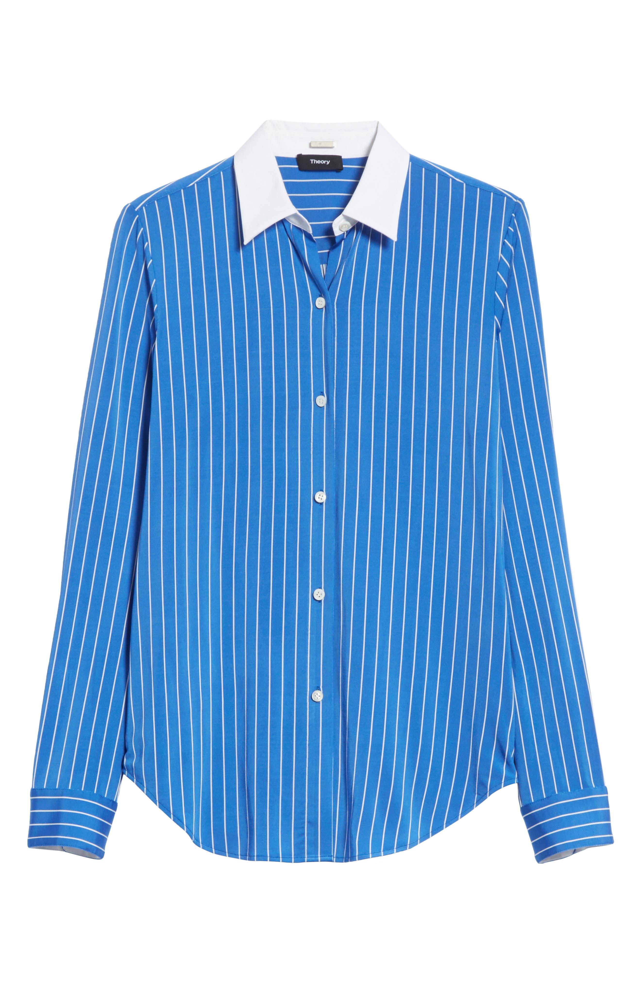 Essential Stripe Jersey Button Down Shirt,                             Alternate thumbnail 6, color,                             Blue/ White