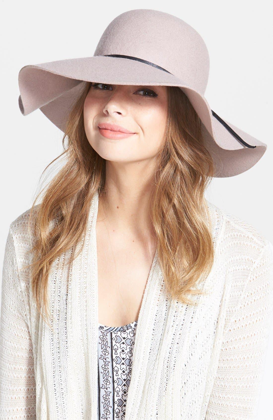 Rope Trim Floppy Felt Hat,                         Main,                         color, Mauve