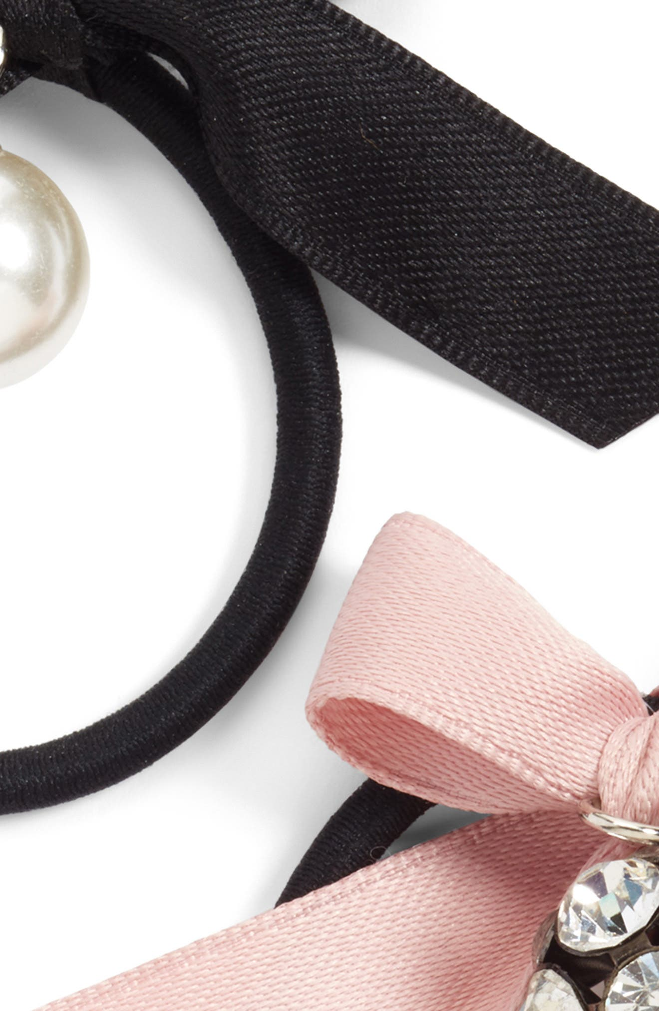 2-Pack Bow with Imitation Pearl & Crystal Charm Ponytail Holders,                             Alternate thumbnail 2, color,                             Black/ Pink