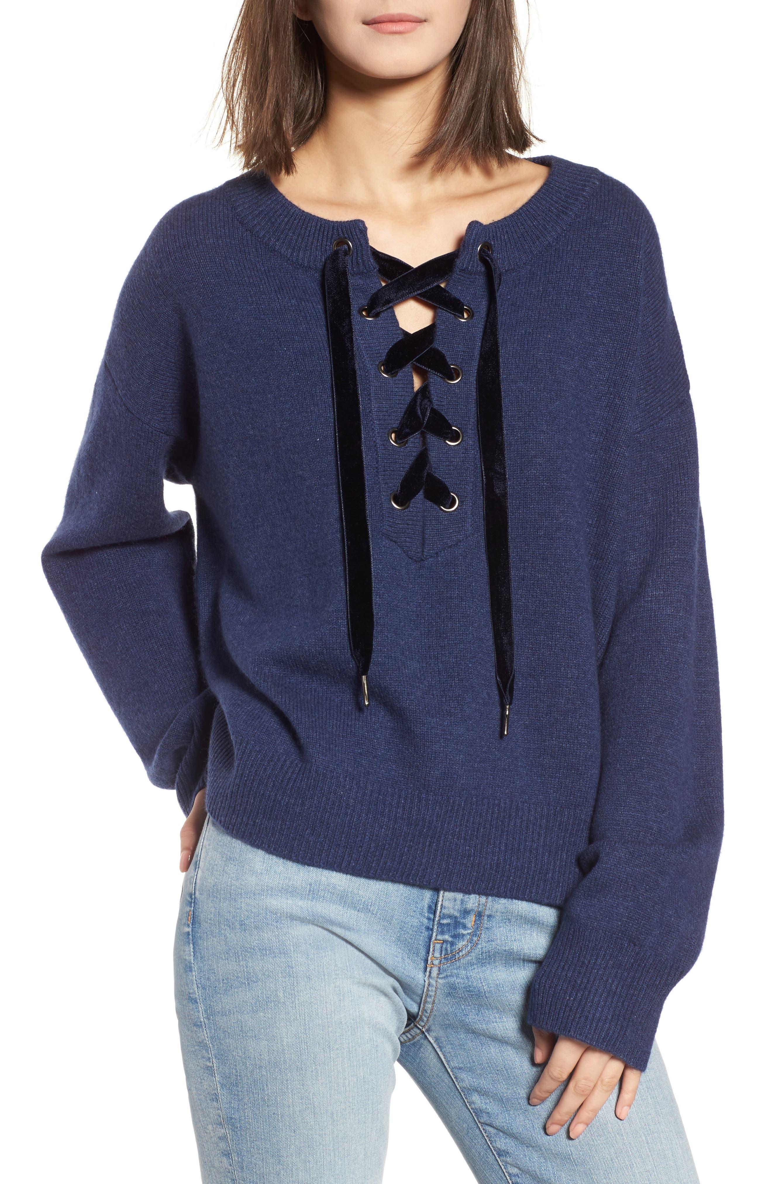Alternate Image 1 Selected - Rails Olivia Lace-Up Sweater