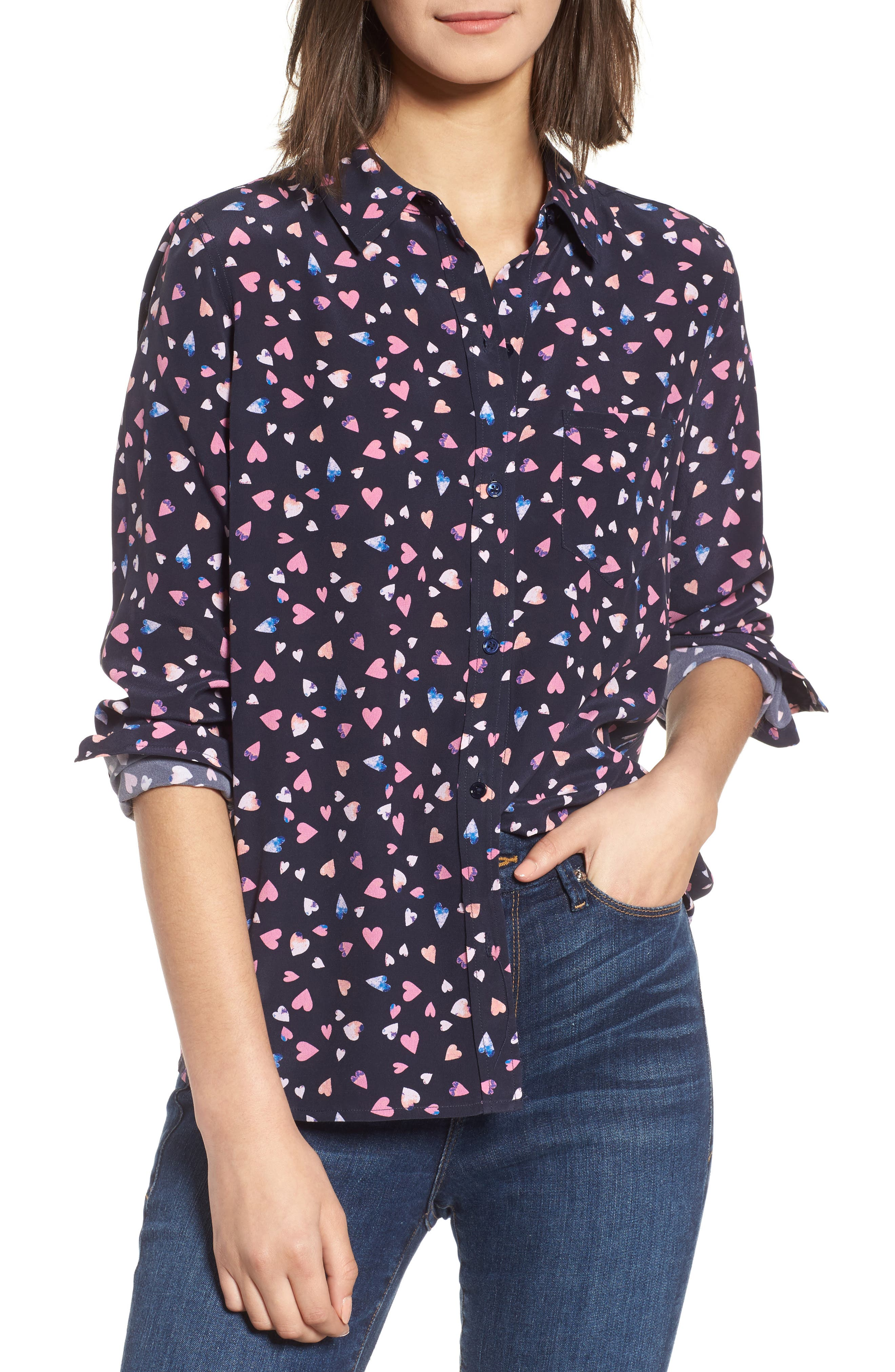Rails Kate Strawberry Print Silk Shirt