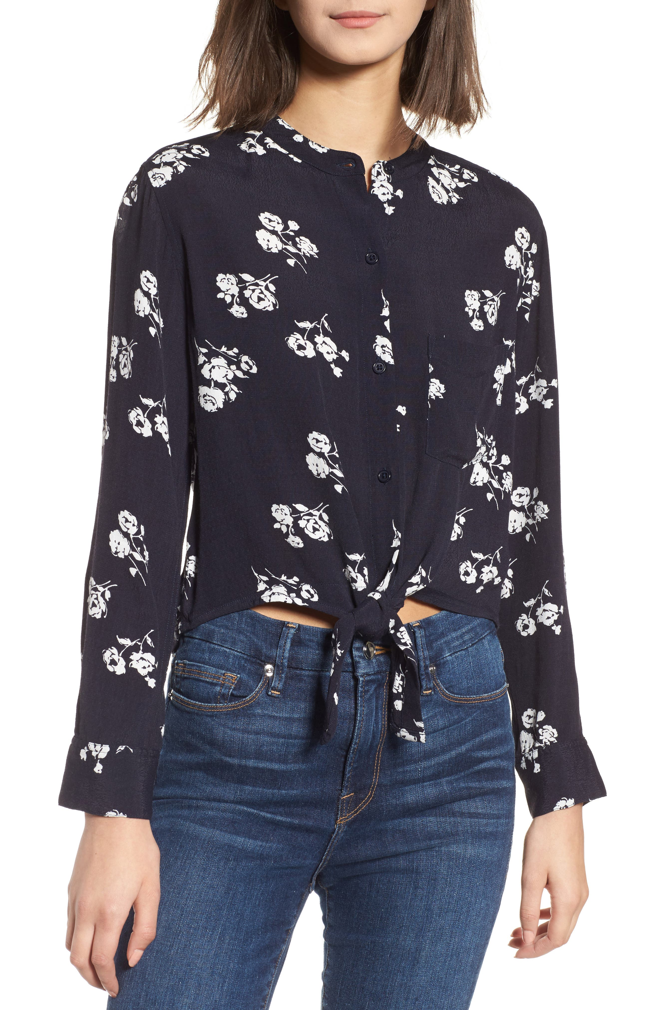 Rowena Tie Front Top,                         Main,                         color, Navy White Floral