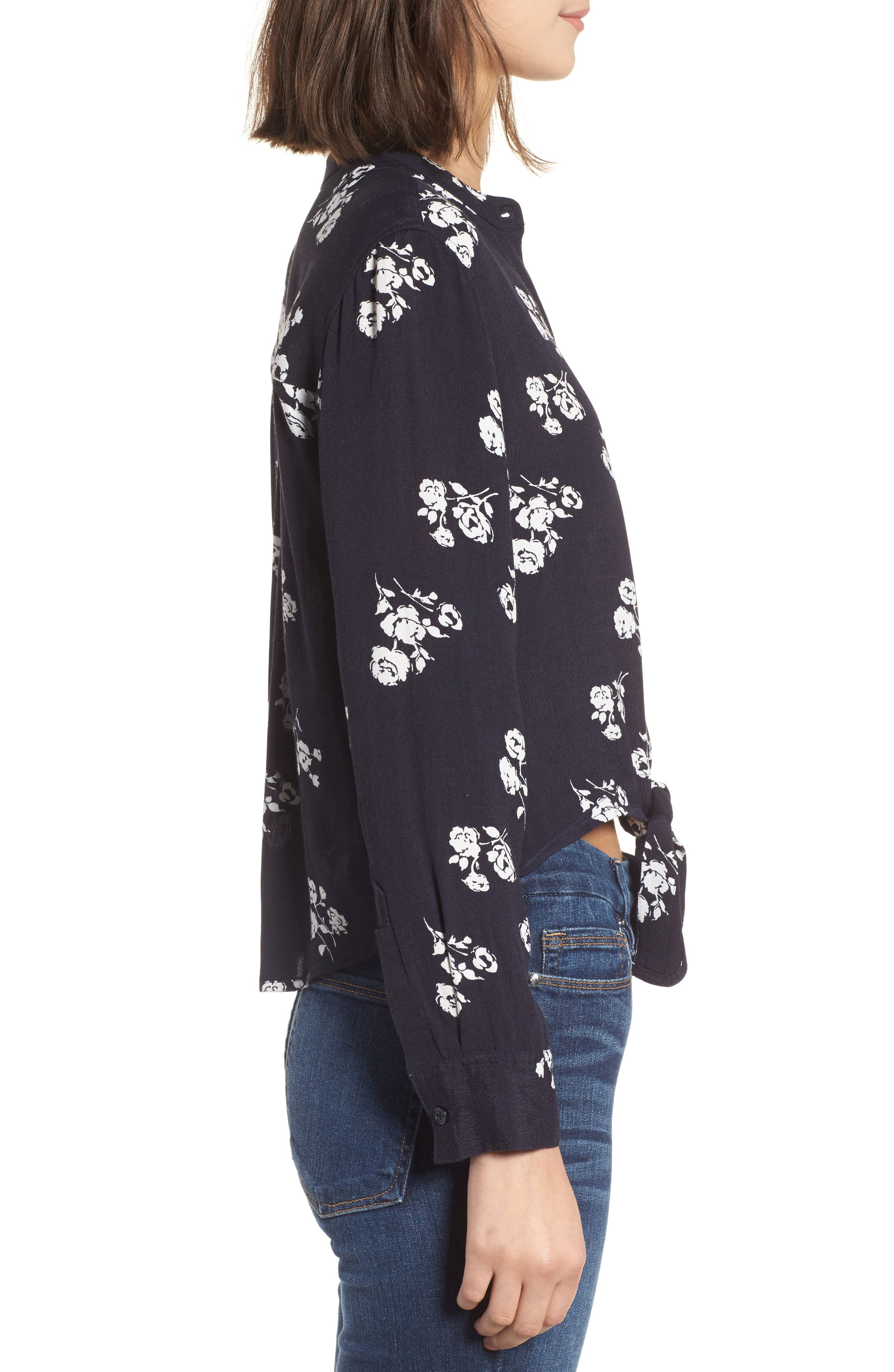 Rowena Tie Front Top,                             Alternate thumbnail 3, color,                             Navy White Floral