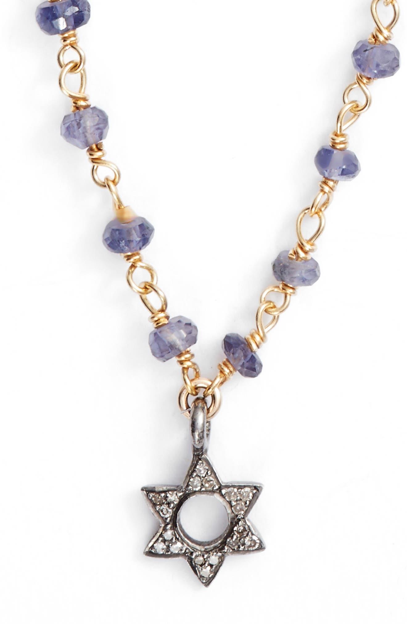 ELA RAE Phoebe Diamond Collar Necklace in Iolite