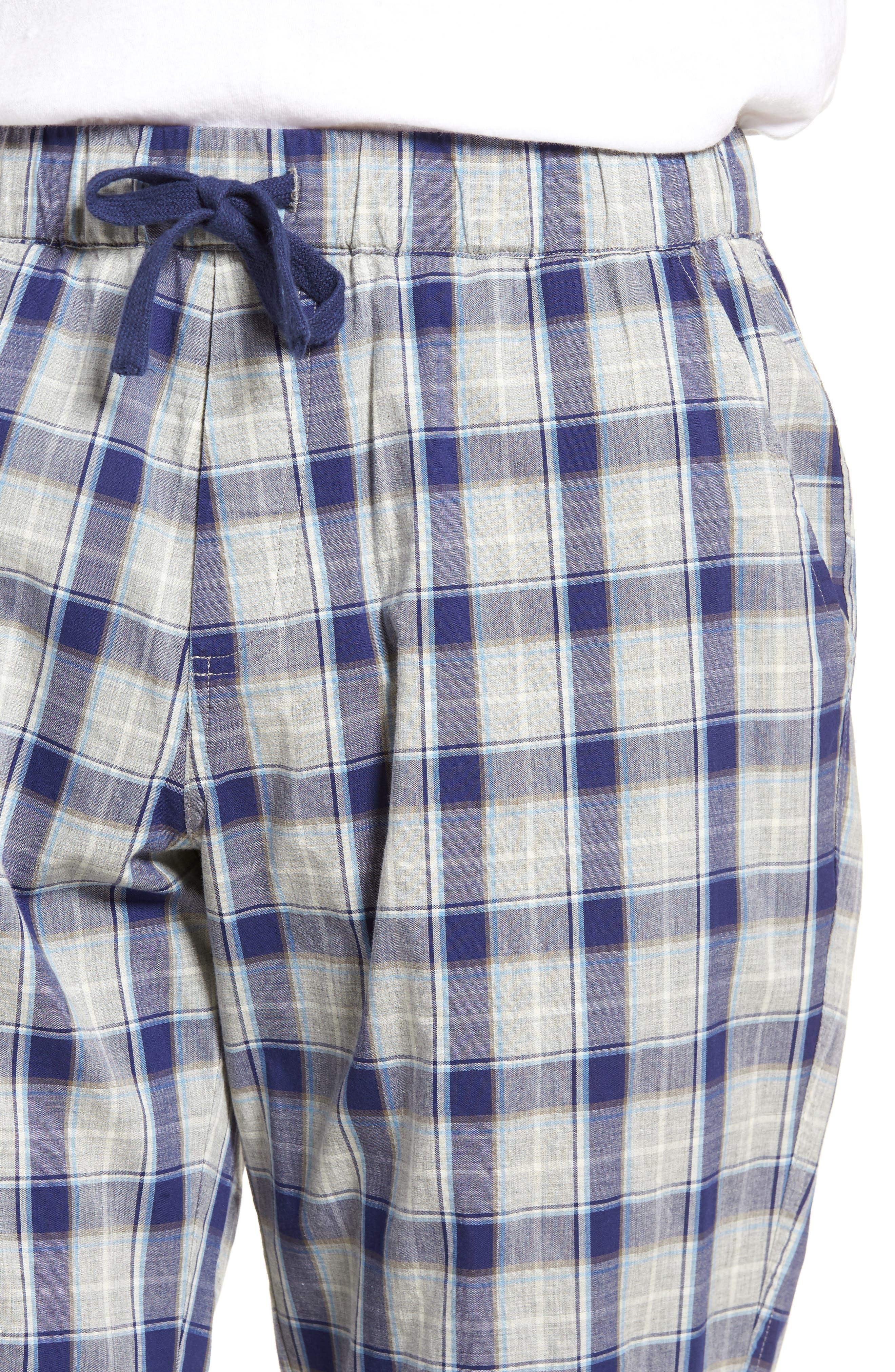 Flynn Plaid Cotton Lounge Pants,                             Alternate thumbnail 4, color,                             Navy